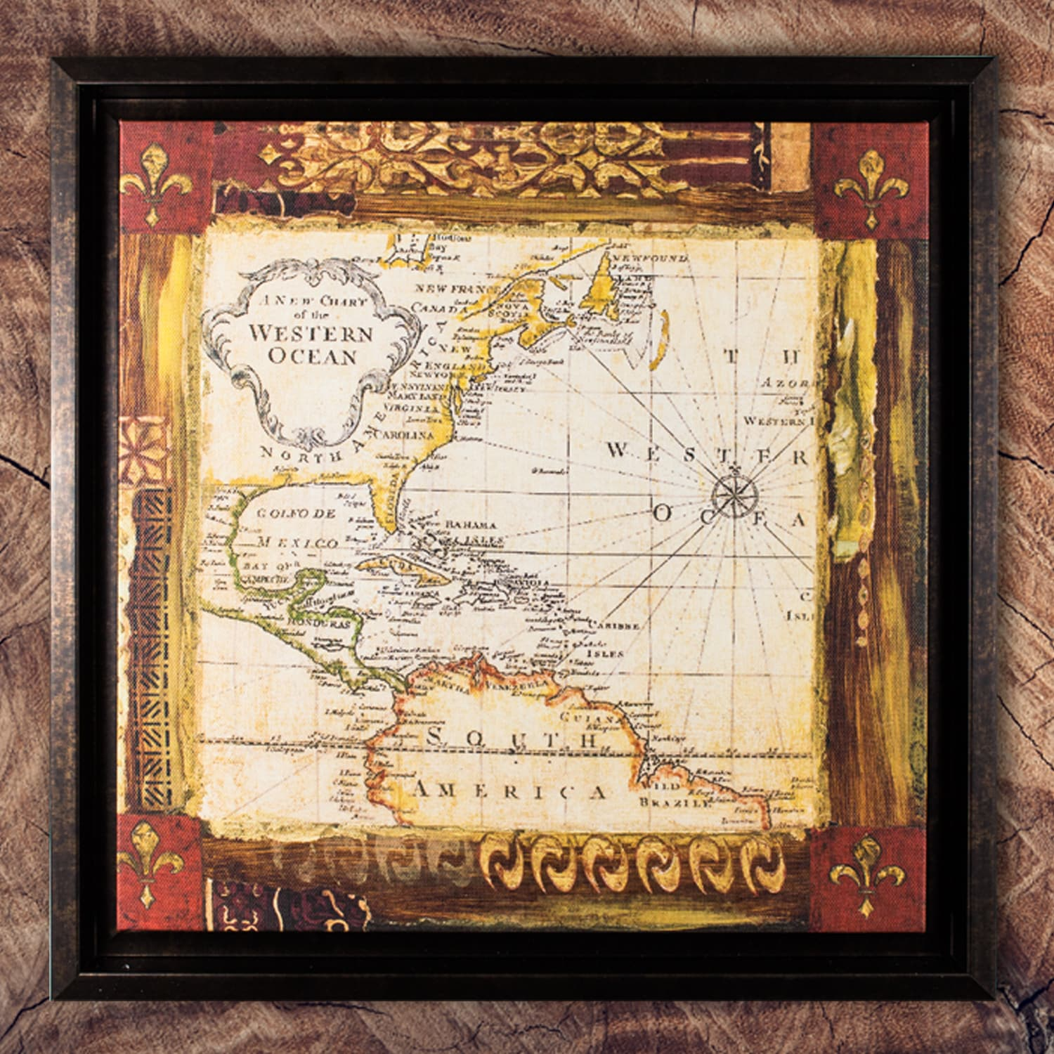 American Art Decor Old World Map Framed Painting Print on Canvas