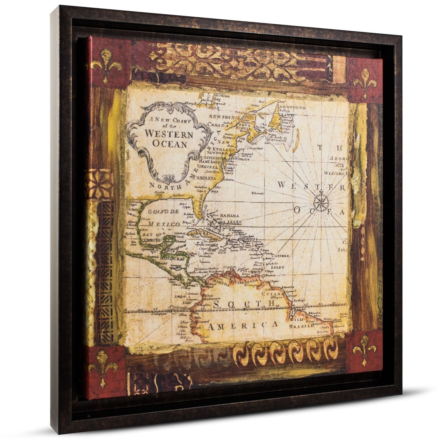 Shop American Art Decor Old World Map Framed Painting Print On