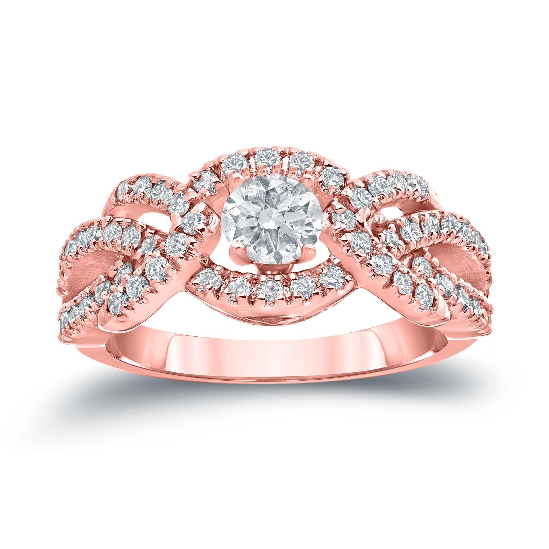 Auriya 14k White Gold 1ct TDW Braided Halo Diamond Engagement Ring ...