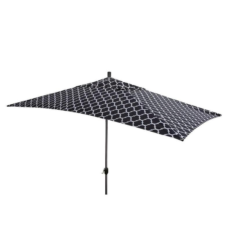 10x6.5 Ft Outdoor Patio Market Garden Yard Umbrella Tilt Rectangular White Cover