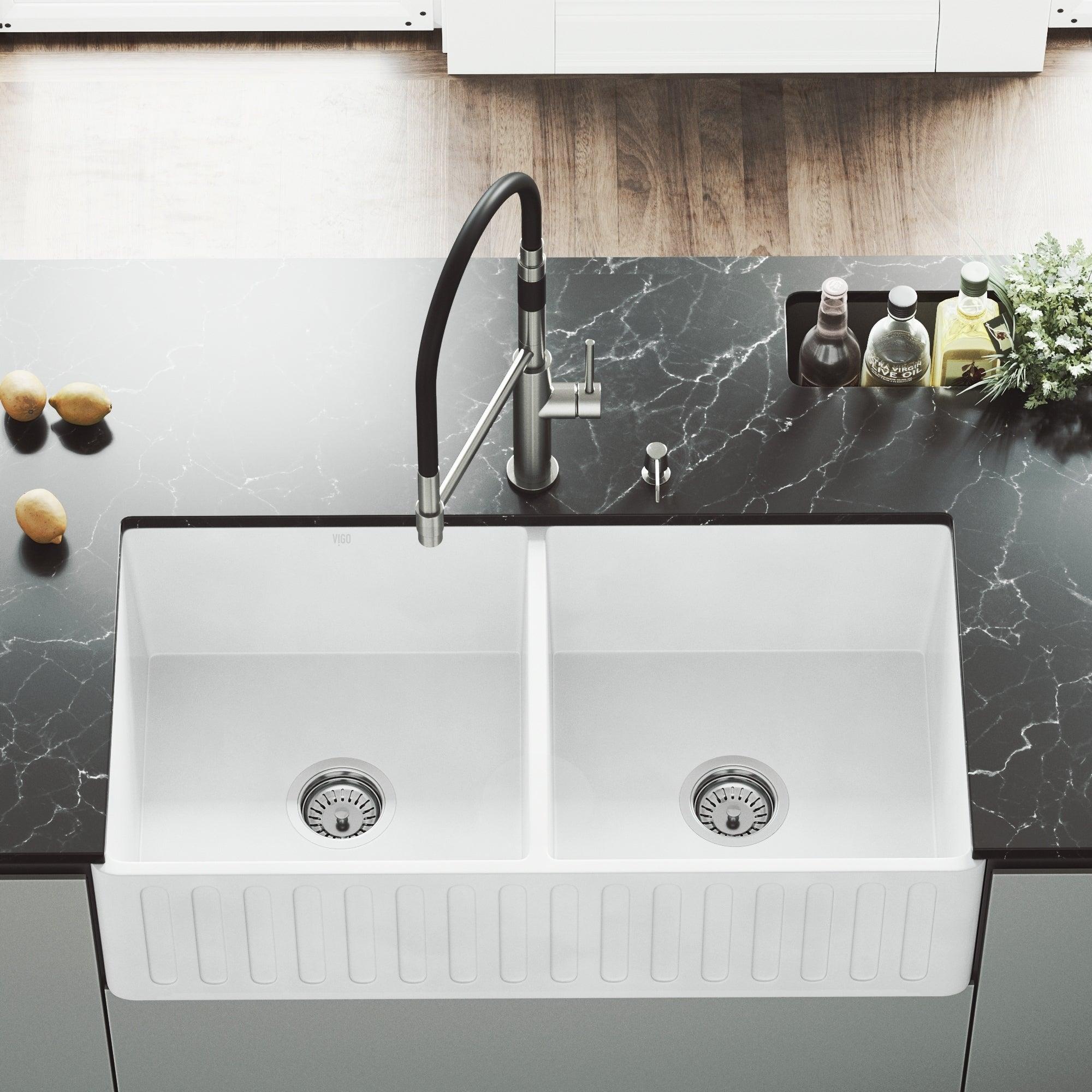 Vigo White 36 Inch Matte Stone Double Bowl Farmhouse Kitchen Sink
