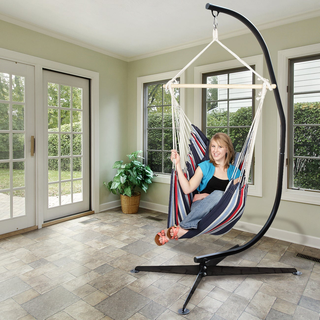 Shop Sorbus® Swivel Hammock Stand Chair Frame, Height Adjustable, 1 Person,  350 Pound Capacity (Black)   Free Shipping Today   Overstock.com   16066746
