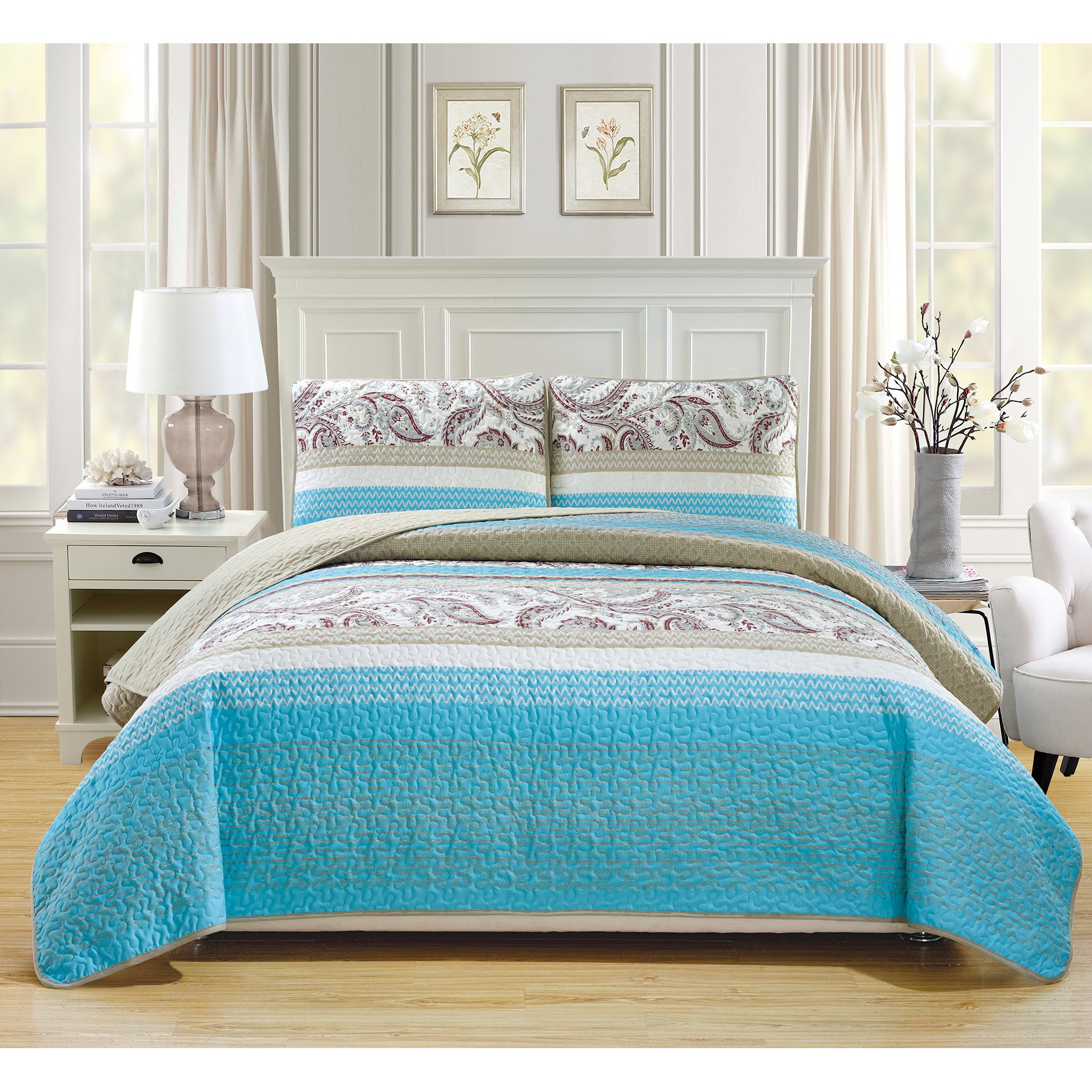 Shop Fashion Street Sisley Quilted 3-piece Bedspread Set - Free ...