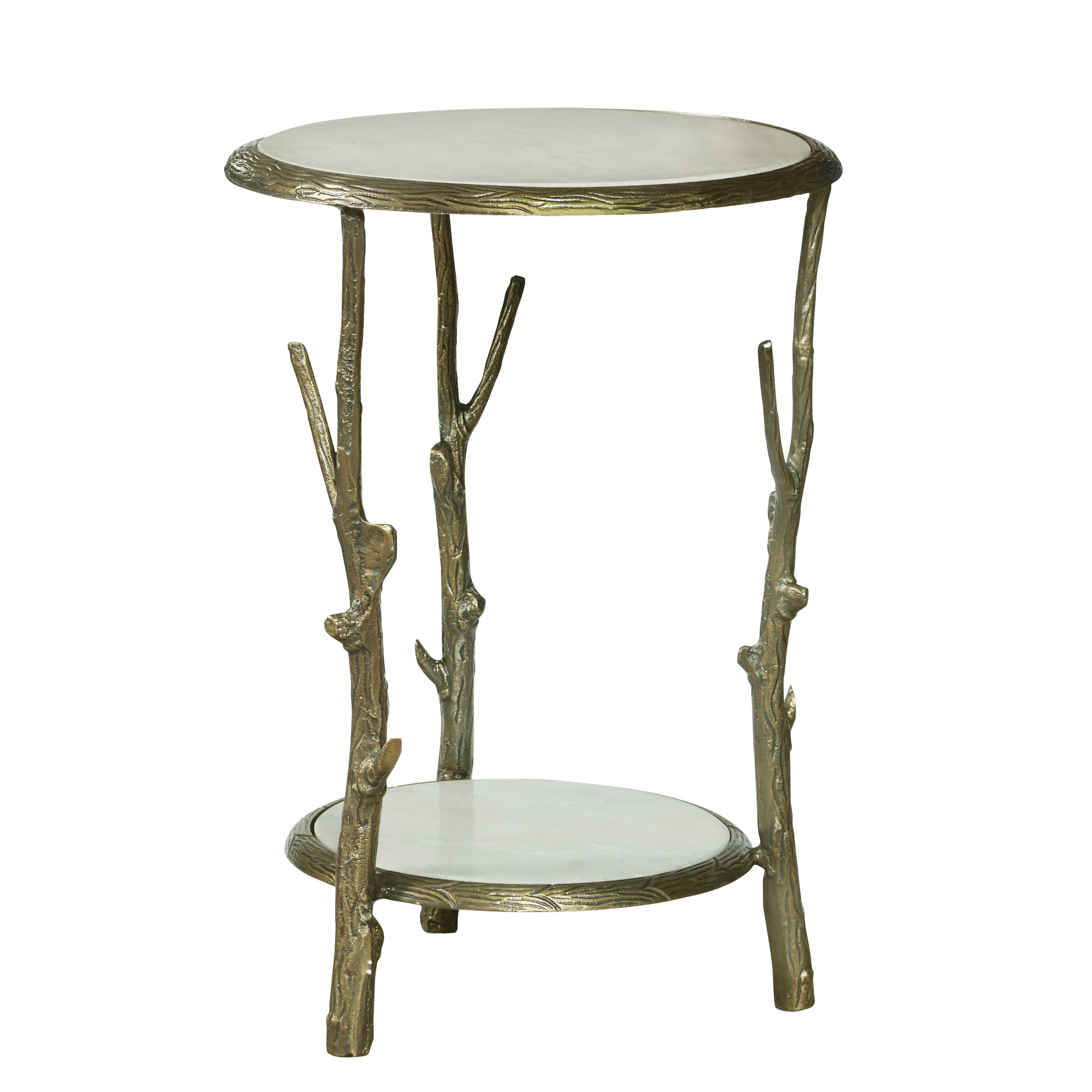 Shop Brady Goldtone Aluminum Marble Top Accent Table Free Shipping