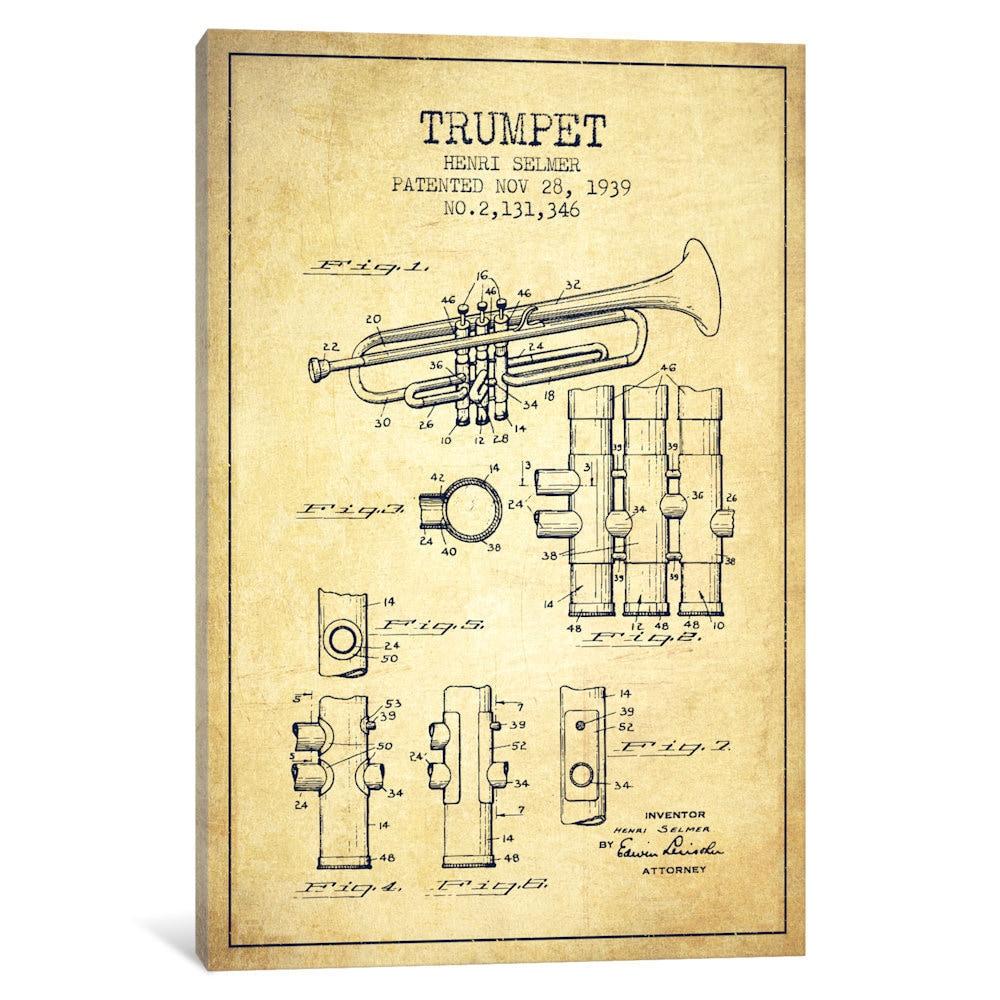 Shop iCanvas Trumpet Vintage Patent Blueprint by Aged Pixel Canvas ...