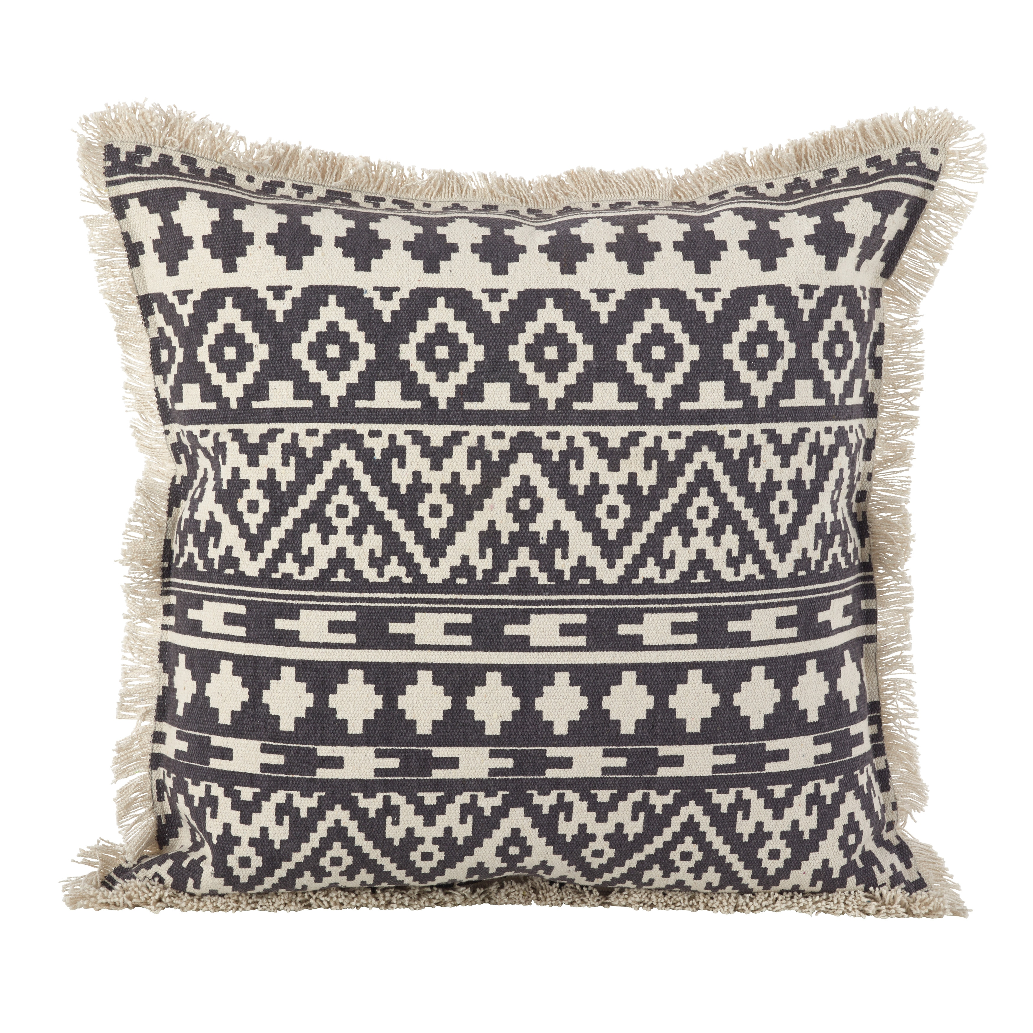 Aztec Tribal Design Fringe Trim Cotton Down Filled Throw Pillow ...