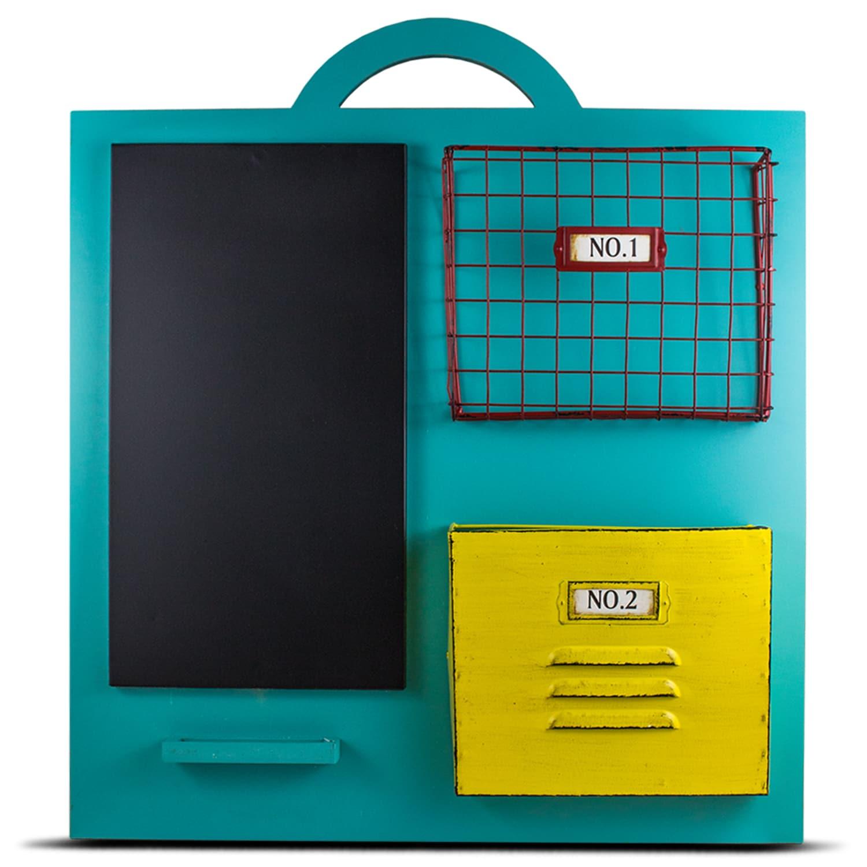 Shop Wooden Teal Chalkboard Wall Organizer Home Storage - Free ...