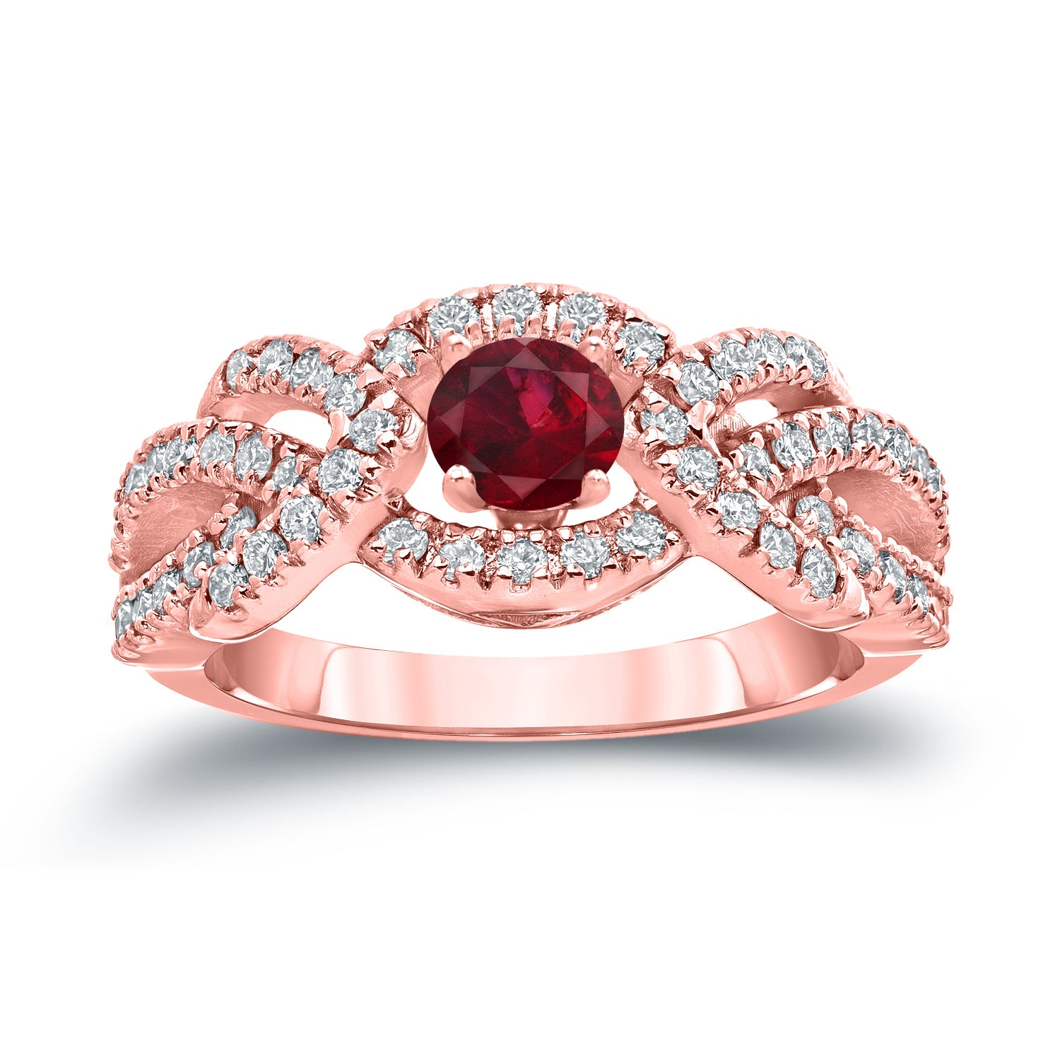Auriya 14k Gold 2/5ct Ruby and 3/5ct TDW Diamond Engagement Ring ...