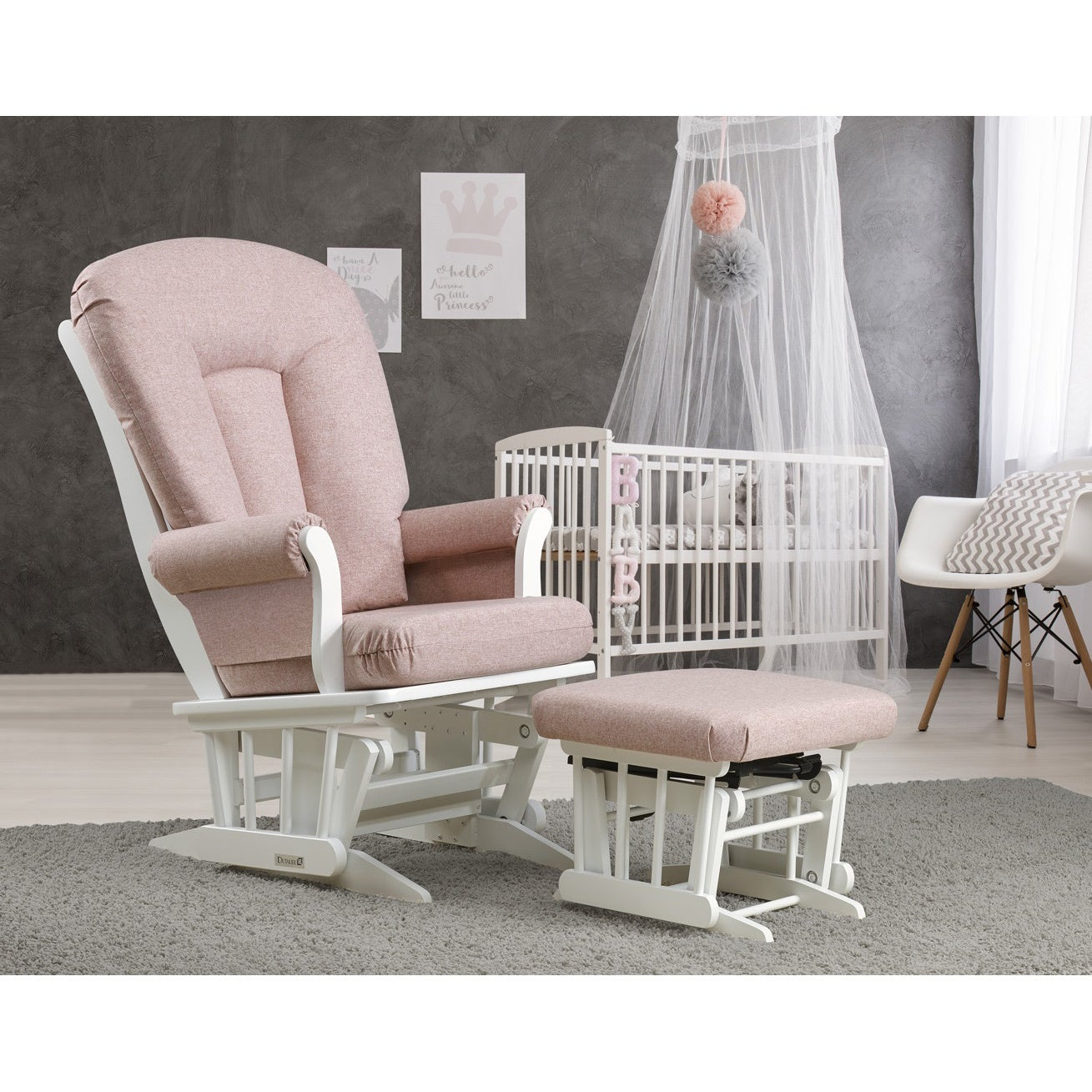 Dutailier Pink Lemonade Sleigh Glider And Nursing Ottoman Combo Free Shipping Today 16077701