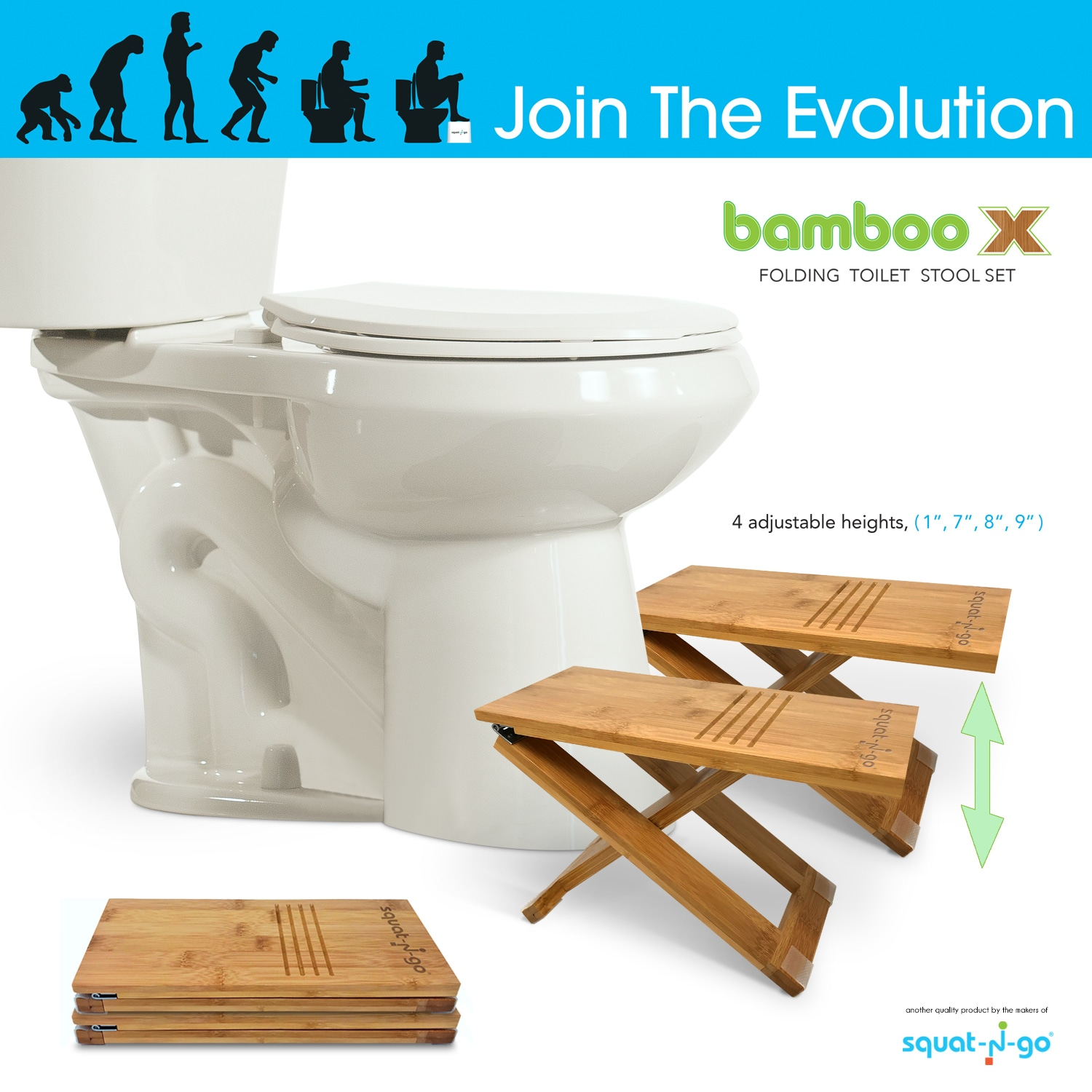 Shop Squat N Go Bamboo x Adjustable-Height Toilet Stool with Travel ...