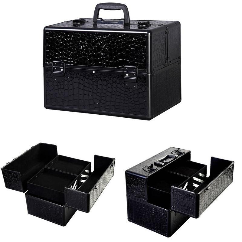 Shop Portable Black Makeup Organizer Storage Train Box Case Free