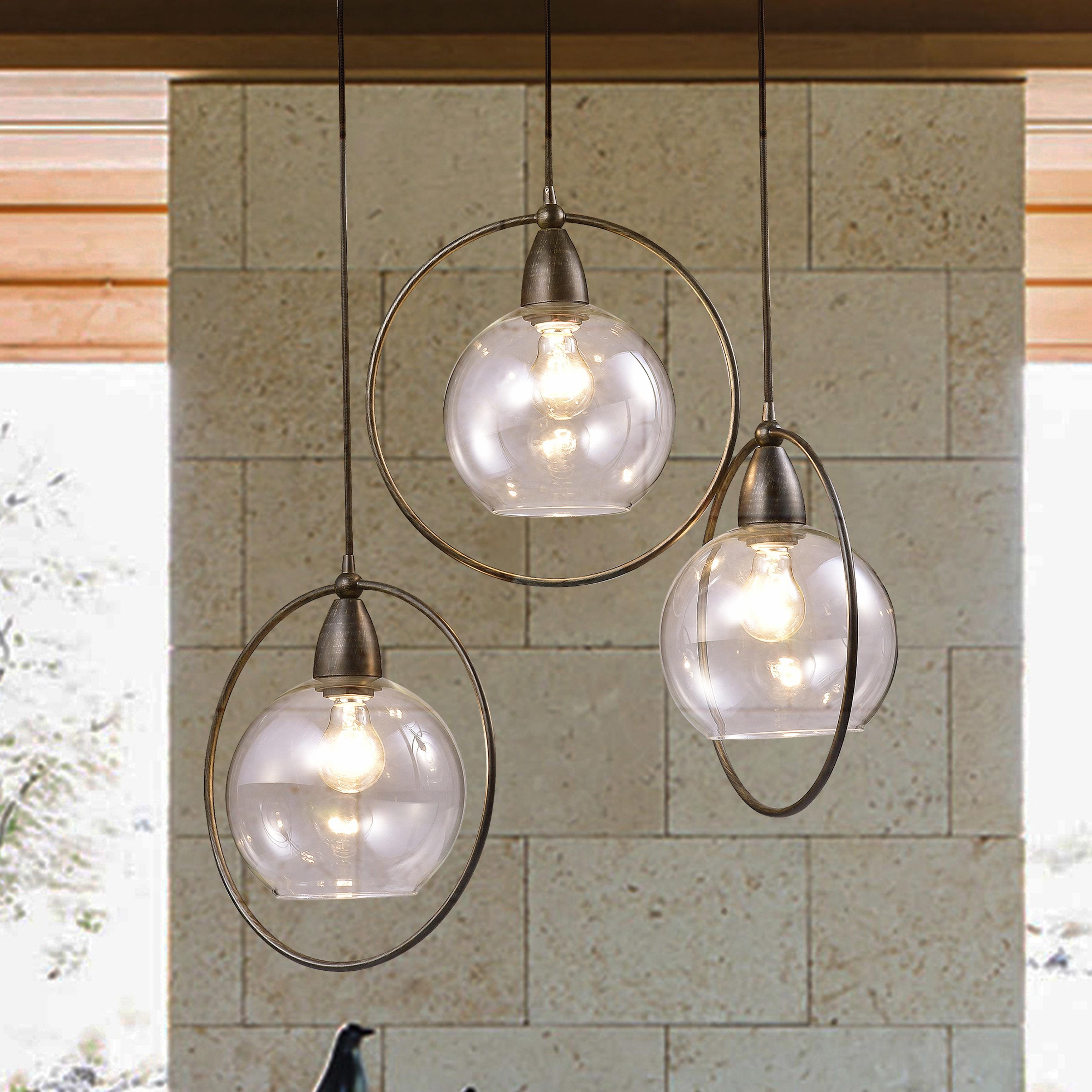 Luna Antique Black 3 Light Clear Glass Globe Iron Loop Pendant