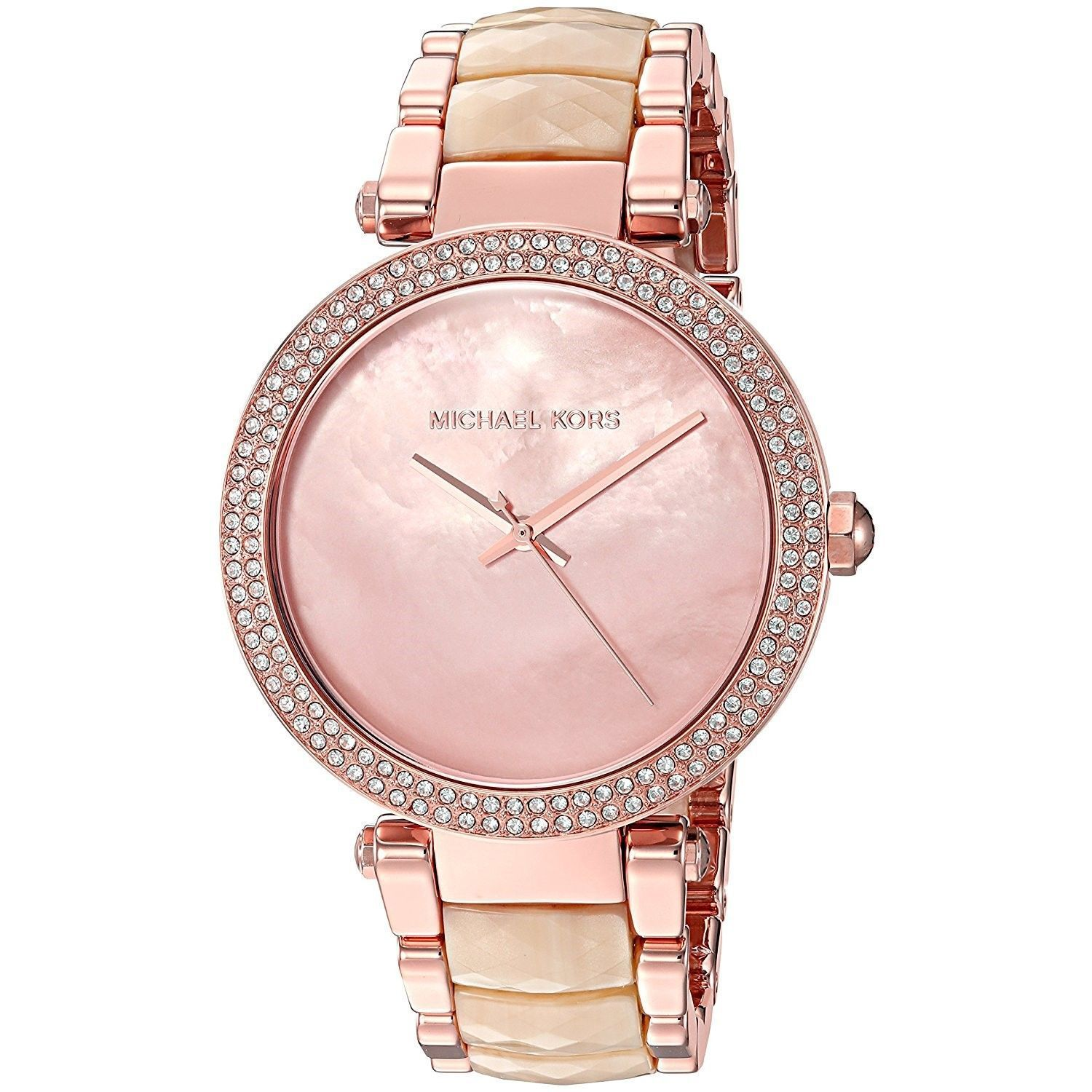 d00b9064c20d Shop Michael Kors Women s  Parker  Crystal Two-Tone Stainless steel and Acetate  Watch - Free Shipping Today - Overstock - 16099814