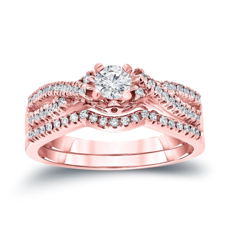 Auriya 14k 1/2ct TDW Braided Infinity Inspired Round Diamond ...