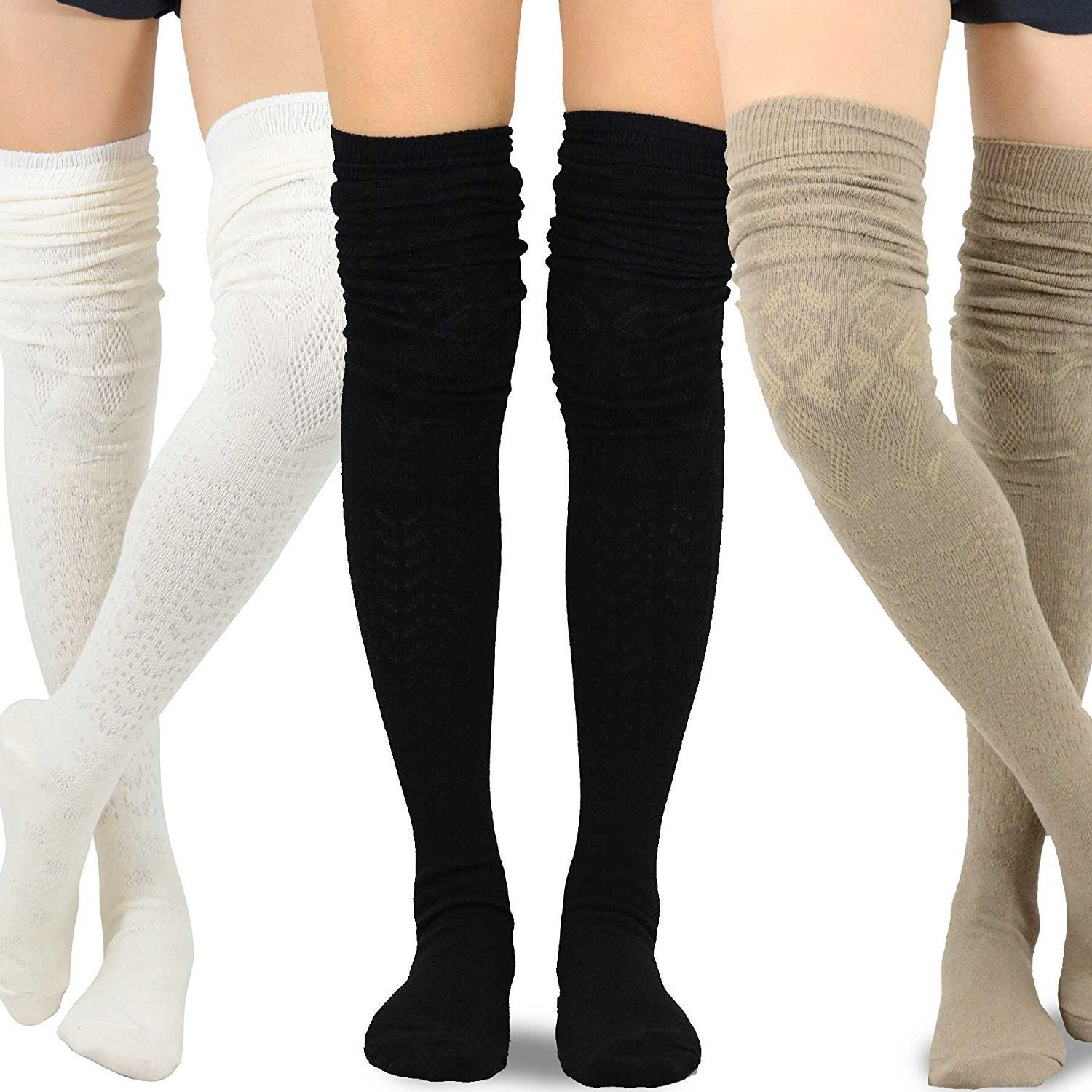 9ced4552c2b Shop Teehee Women s Fashion Extra Long Cotton Thigh High Socks 3 pack - Free  Shipping On Orders Over  45 - Overstock - 16105648