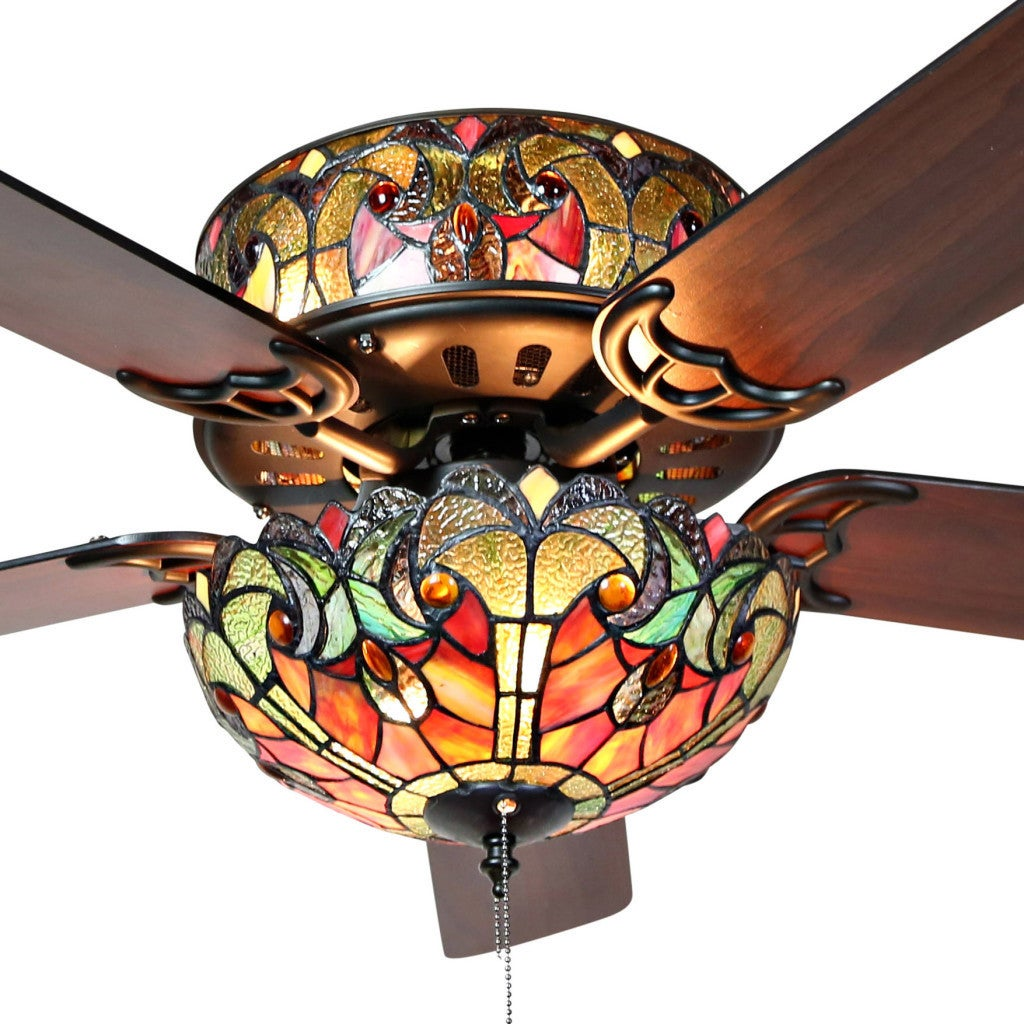 Shop tiffany style stained glass halston ceiling fan spice free shop tiffany style stained glass halston ceiling fan spice free shipping today overstock 16105878 mozeypictures Gallery