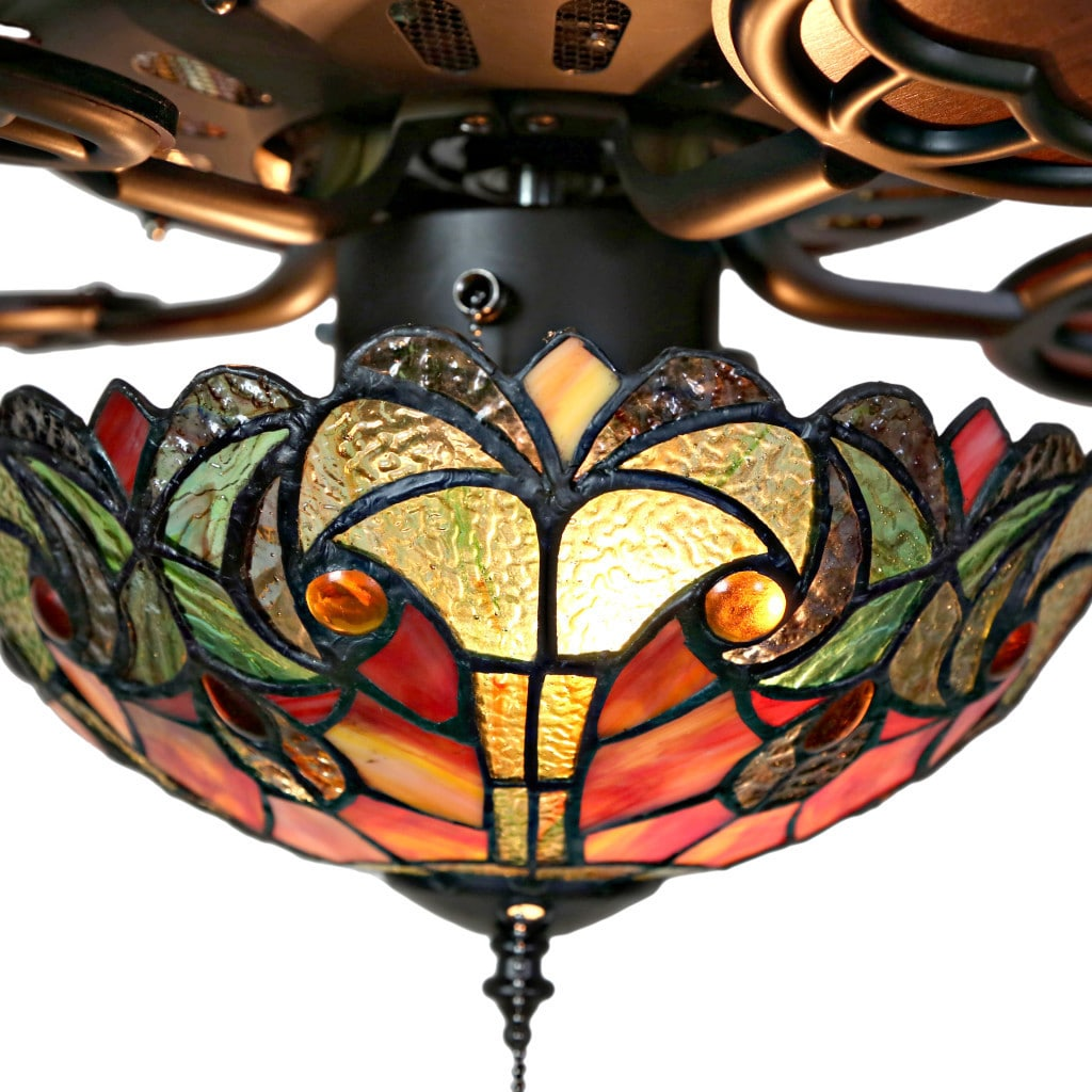 Shop Tiffany Style Stained Glass Halston Ceiling Fan Spice On Sale Free Shipping Today Overstock Com 16105878