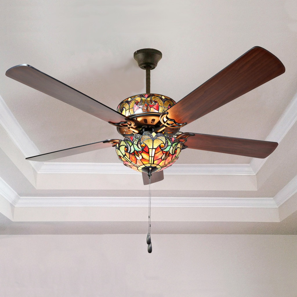tiffany style stained glass halston ceiling fan - spice - free