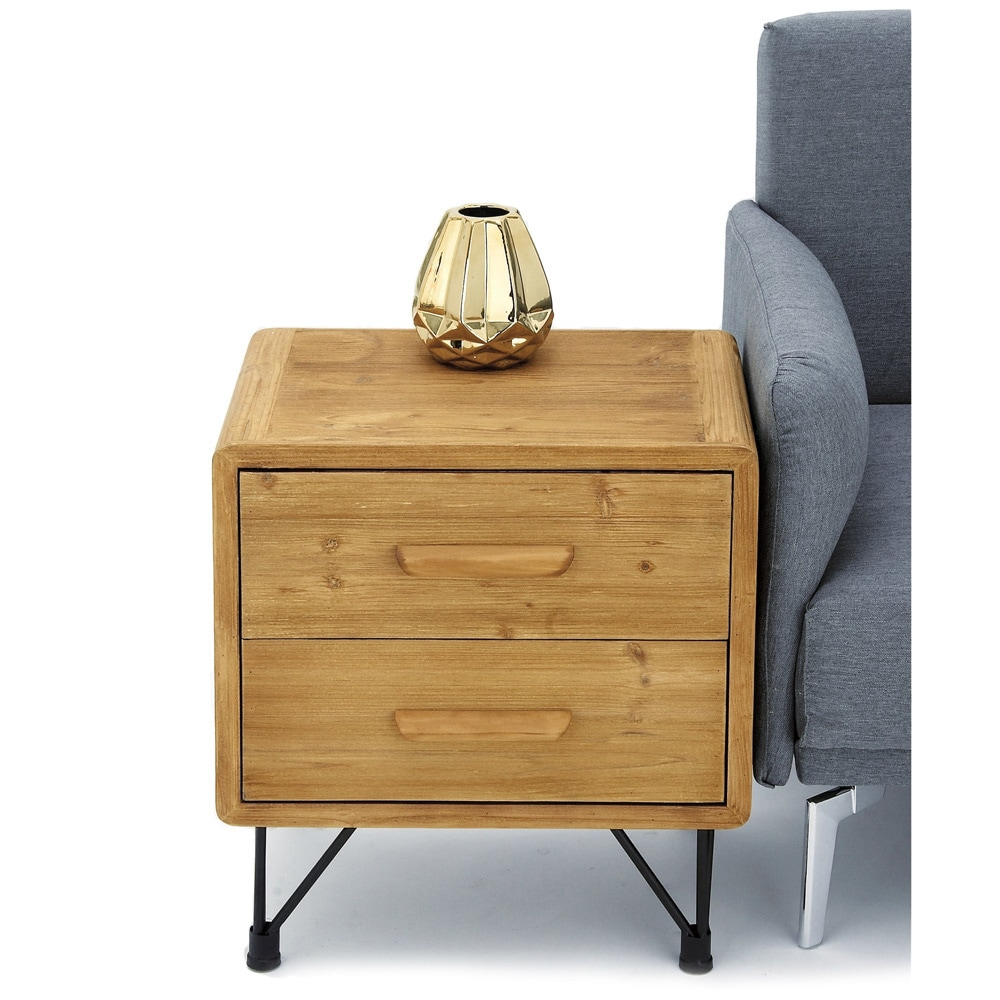Urban Designs Dana Point Collection Natural Wood 2-drawer End Table ...