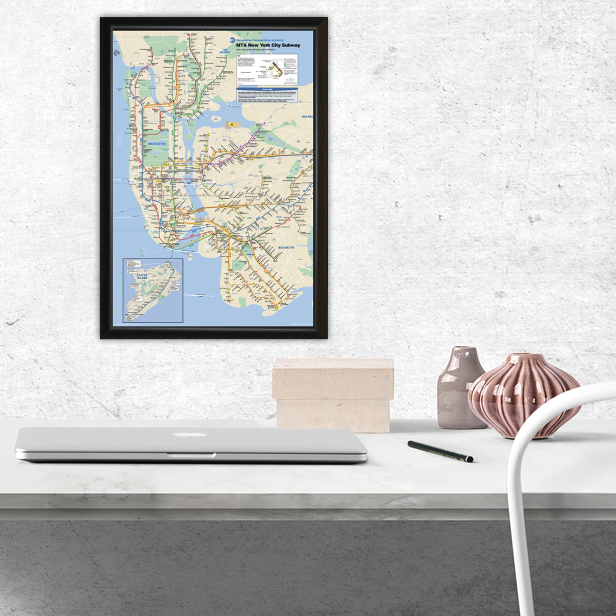 Framed New York Subway Map.Nyc Subway Map Framed 11x17 Print