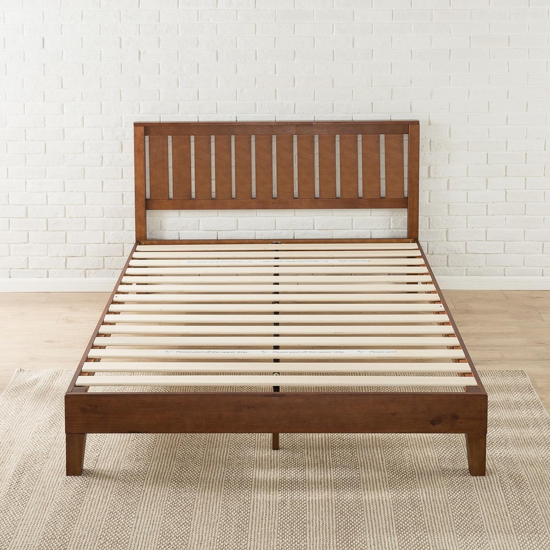 Shop Priage Deluxe Antique Espresso Wood Platform Bed with Headboard ...