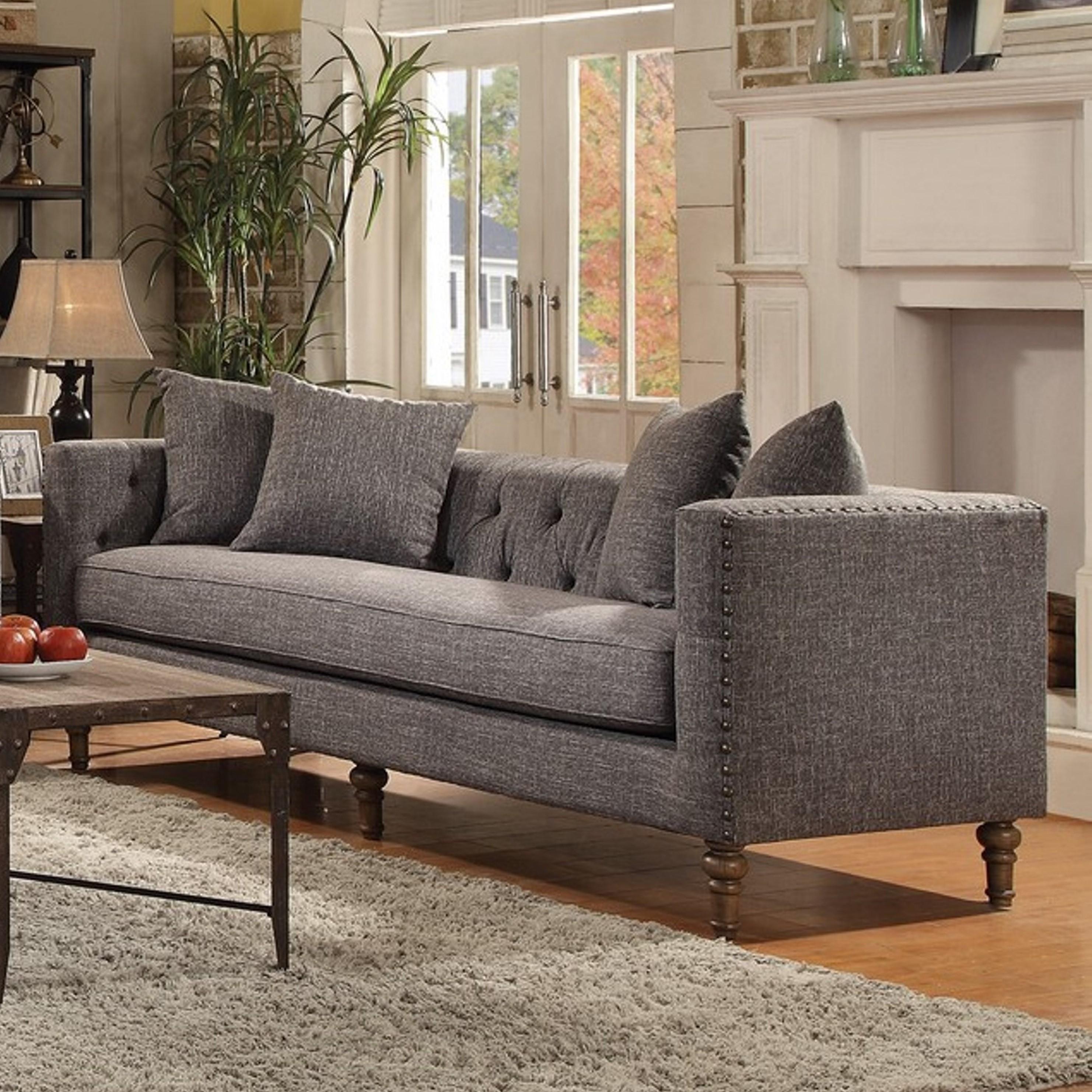 Shop Exquisite Traditional Tufted Tuxedo Back Design Living Room ...