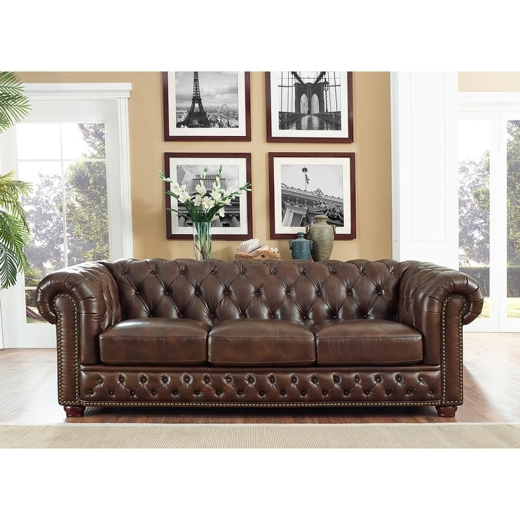Yuma Brown Leather Tufted Sofa On Free Shipping Today 16147934