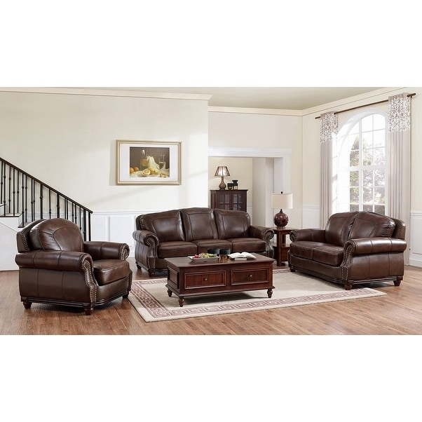 Shop Mesa Brown Leather Sofa, Loveseat and Chair Set - Free Shipping ...