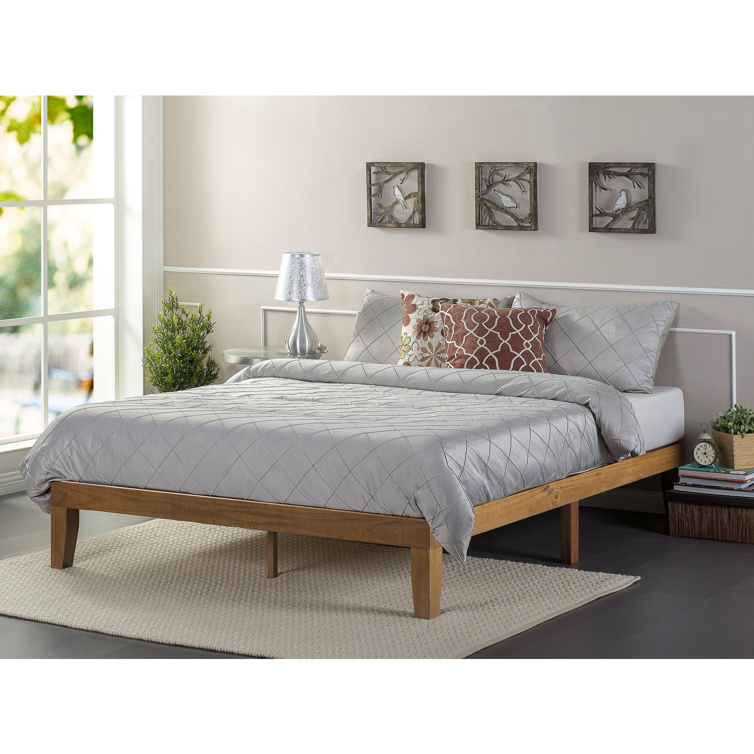 Priage Solid Wood Platform Bed Rustic Pine Free Shipping Today