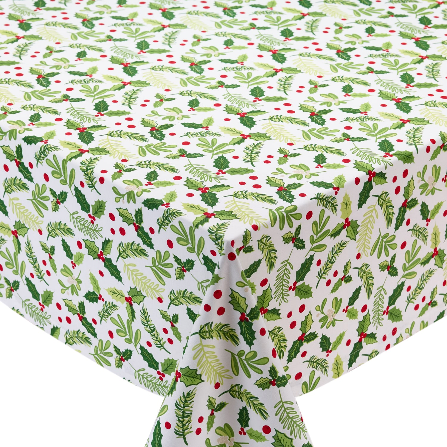 Shop Boughs Of Holly Printed Tablecloth   On Sale   Free Shipping Today    Overstock.com   16150178