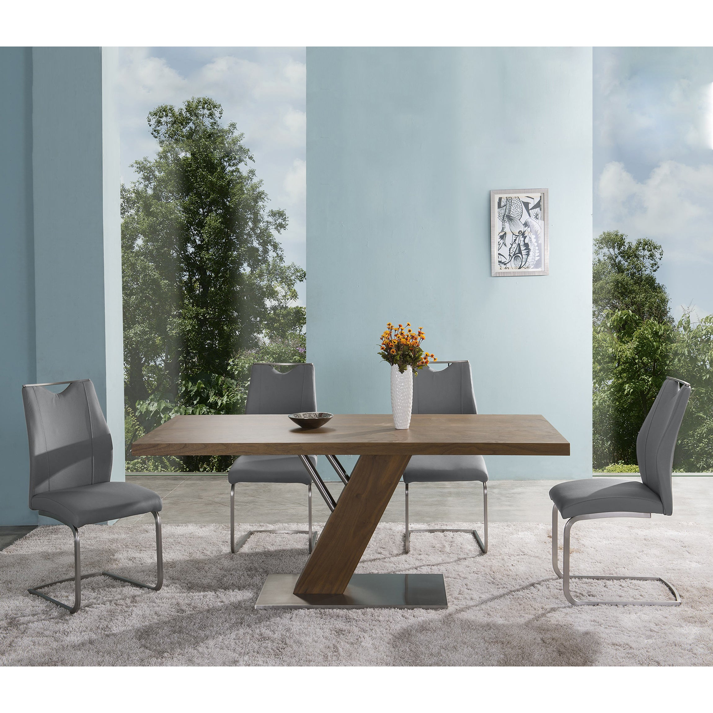 Shop Armen Living Bravo Grey Faux Leather and Stainless Steel Dining ...