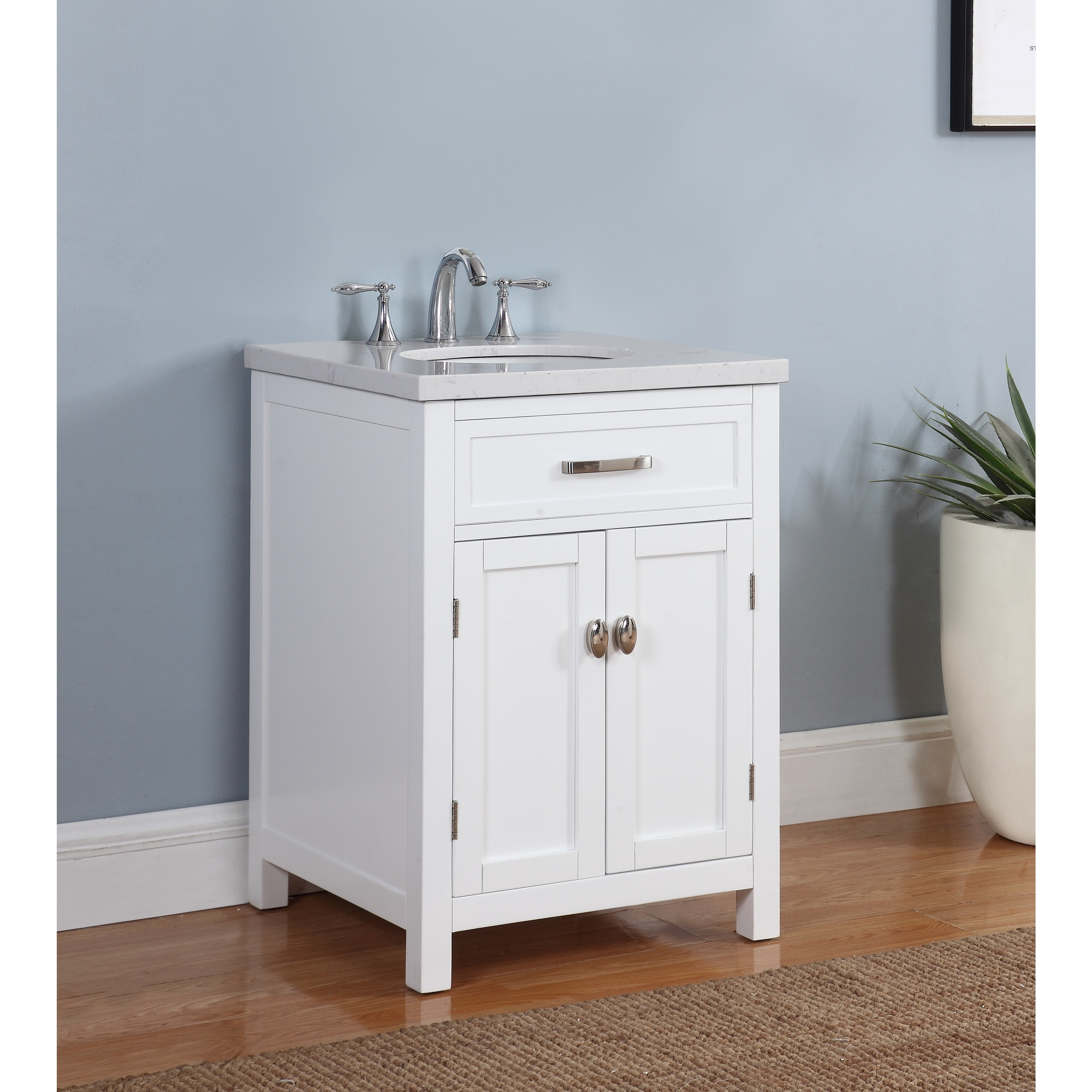 Shop solana bathroom vanity in white finish with grey and white marble top free shipping today overstock com 16150873