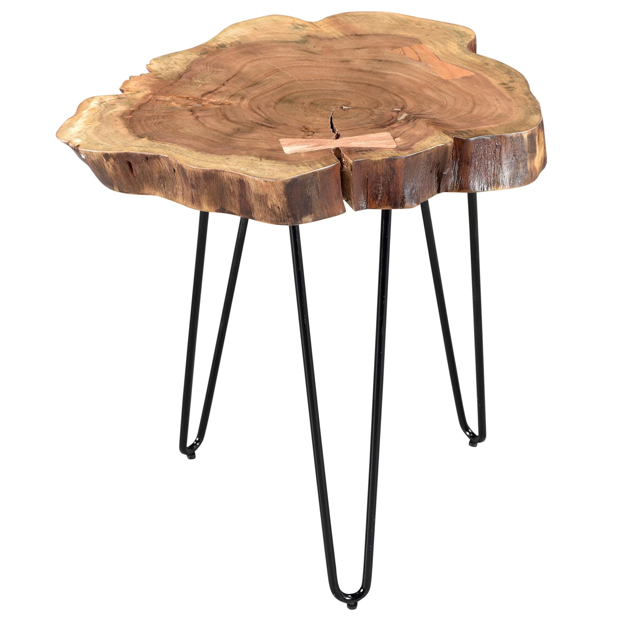 Bon Nila Acacia Wood/Wrought Iron Accent Table
