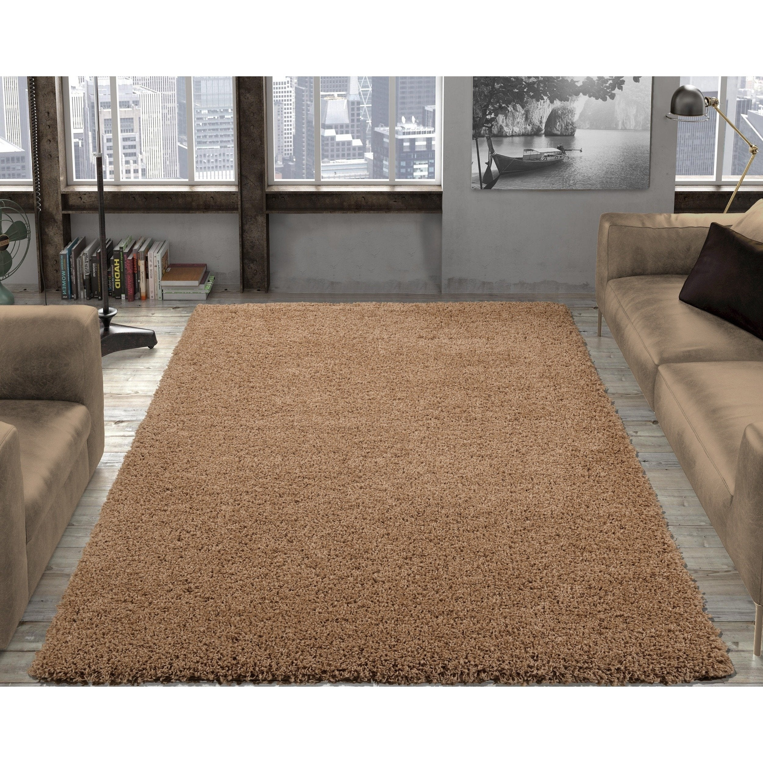 Ottomanson contemporary soft cozy color solid beige shag rug 53 x 7