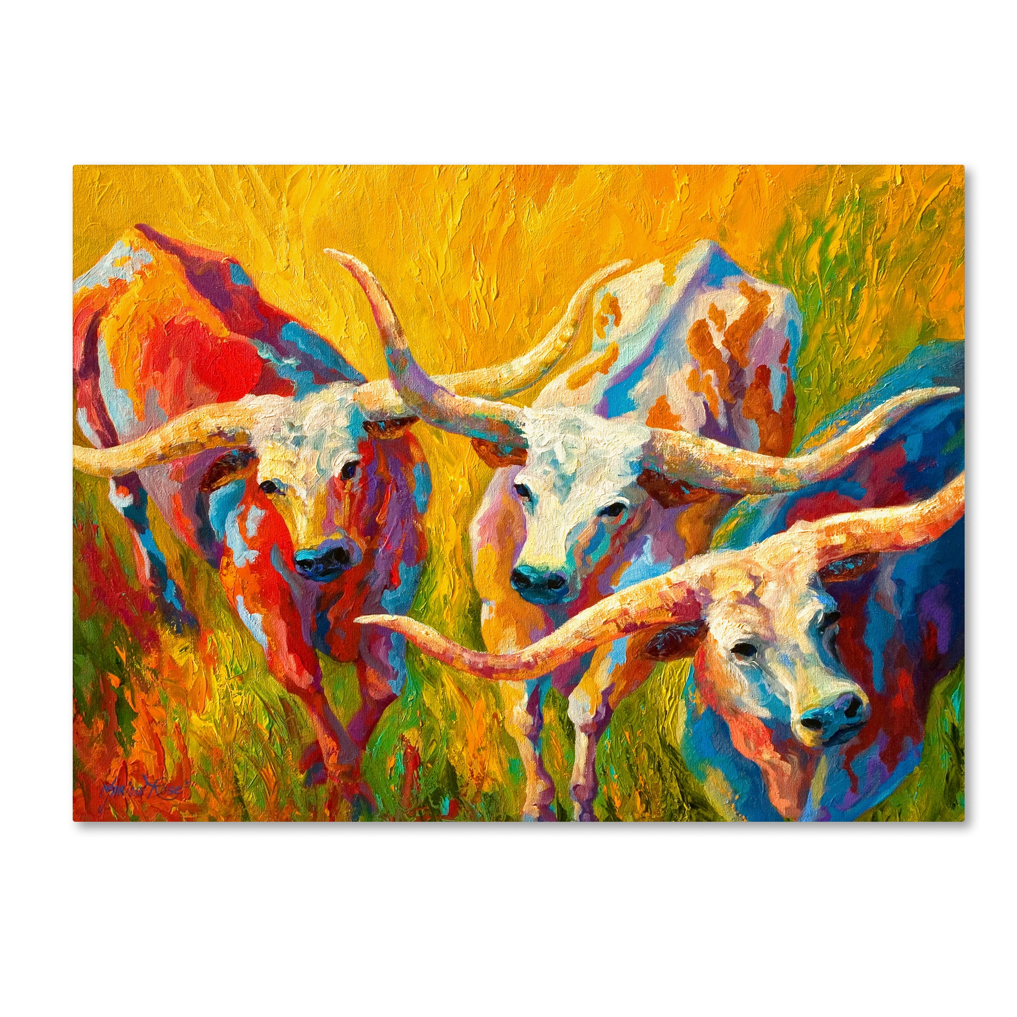 Marion Rose \'Dance of the Longhorns\' Canvas Art - Free Shipping ...