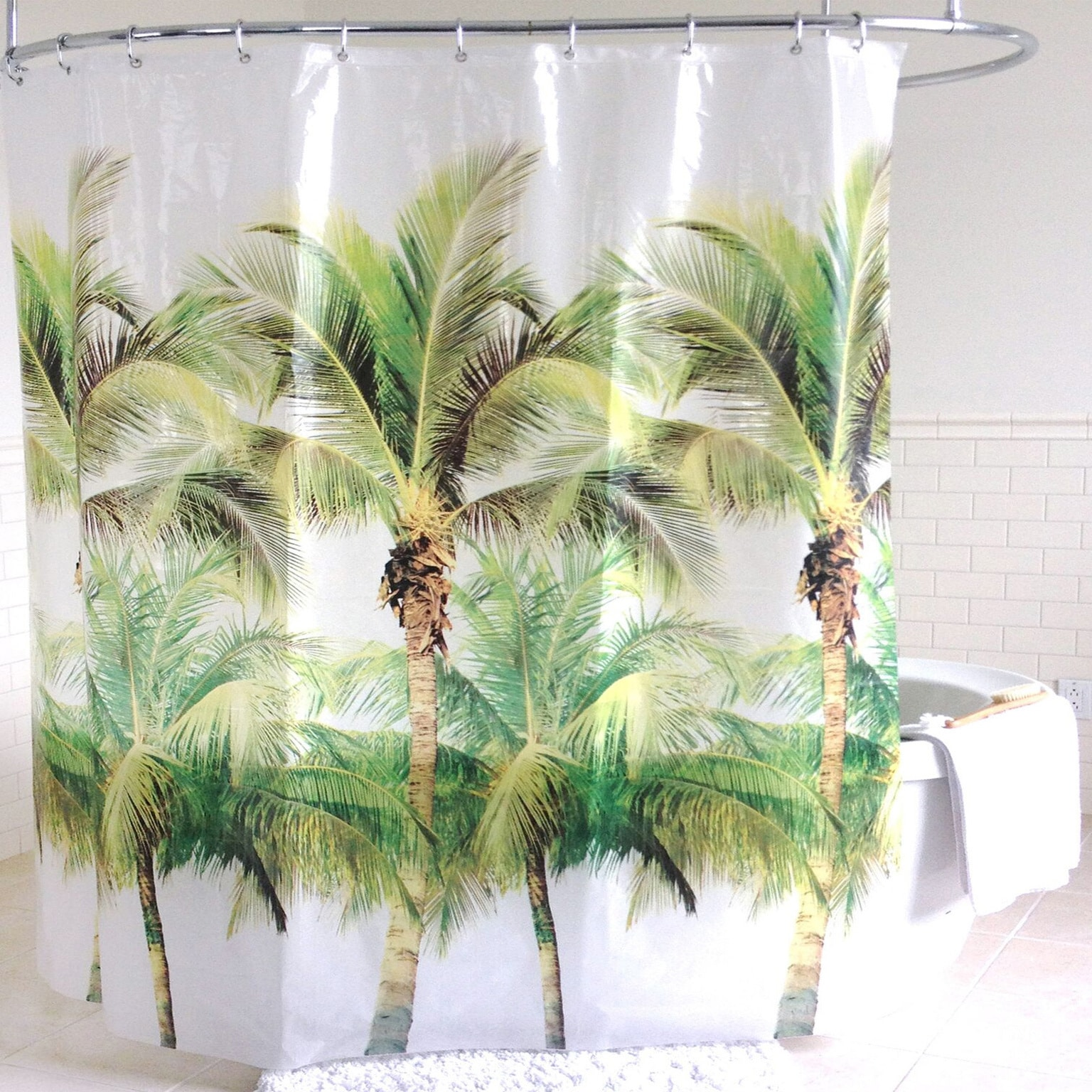 Green Palm Tree PEVA Shower Curtain (70 X 72)   Free Shipping On Orders  Over $45   Overstock   22553913