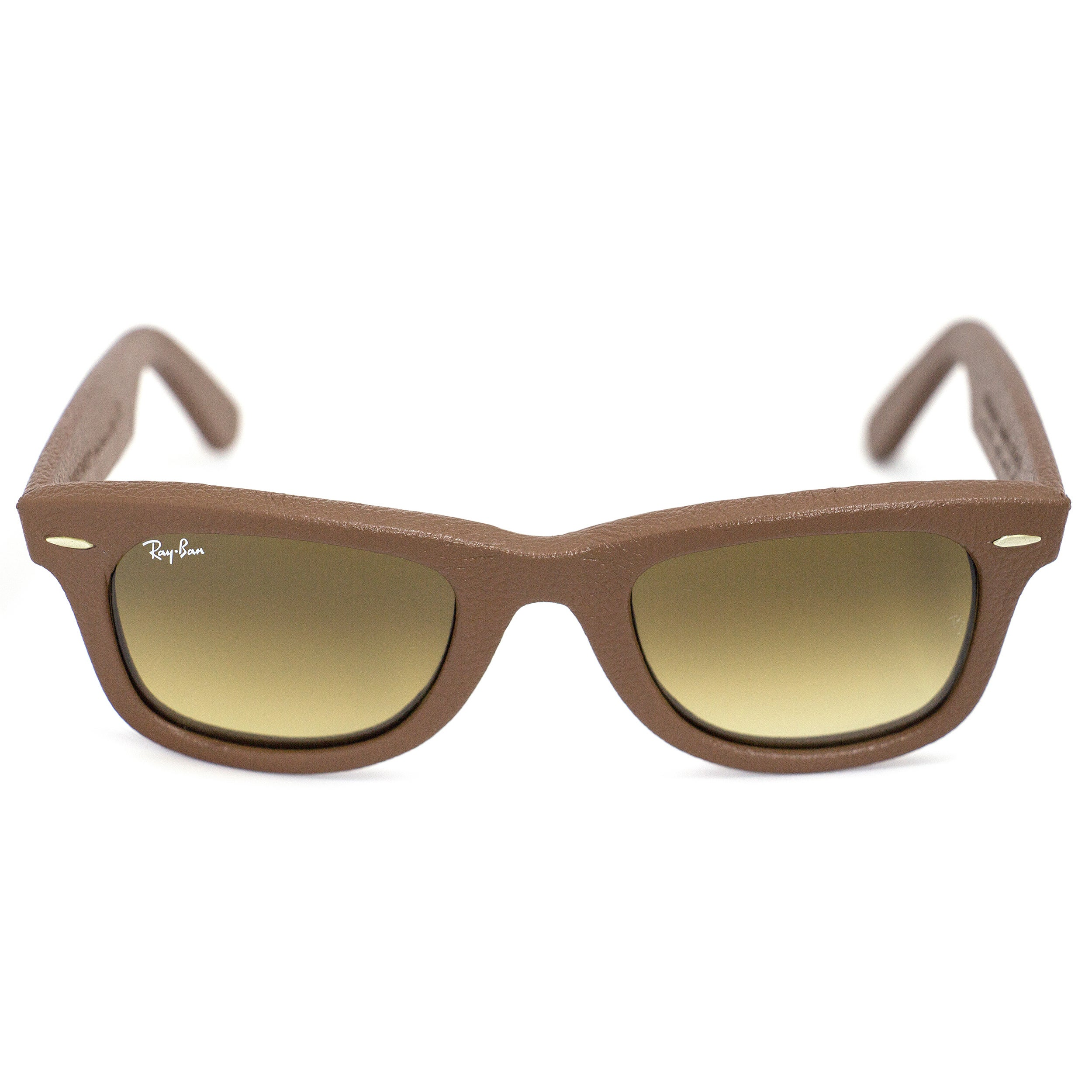 be2570430 ... spain shop ray ban wayfarer leather rb2140qm 1169 85 bronze copper  frame brown gradient lens sunglasses