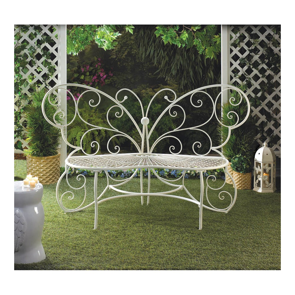 Koehler Home Decor Butterfly White Metal Garden Bench - Free ...