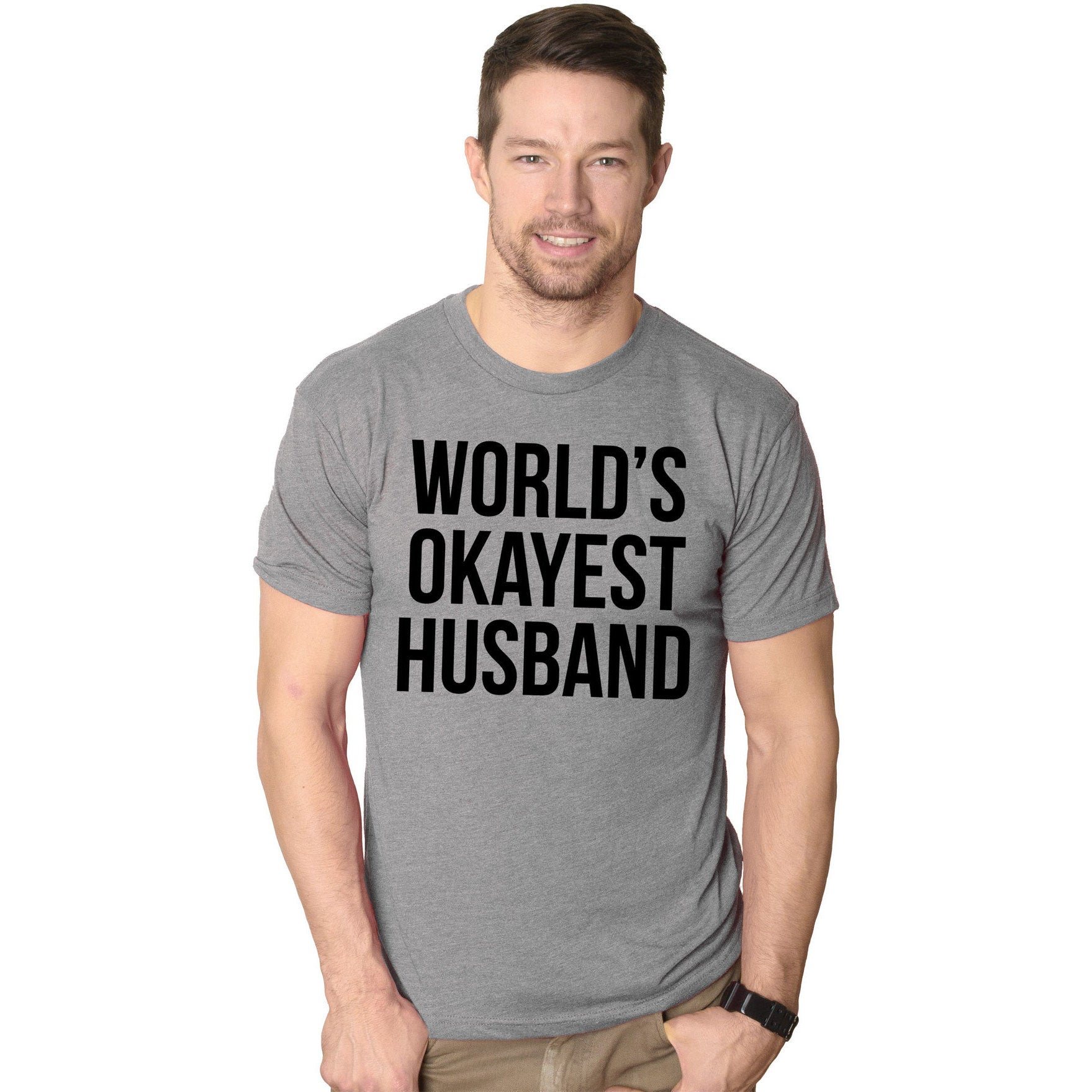 1b64d3ba Shop World's Okayest Husband T Shirt Funny Marriage Tee - Free Shipping On Orders  Over $45 - Overstock - 16183353