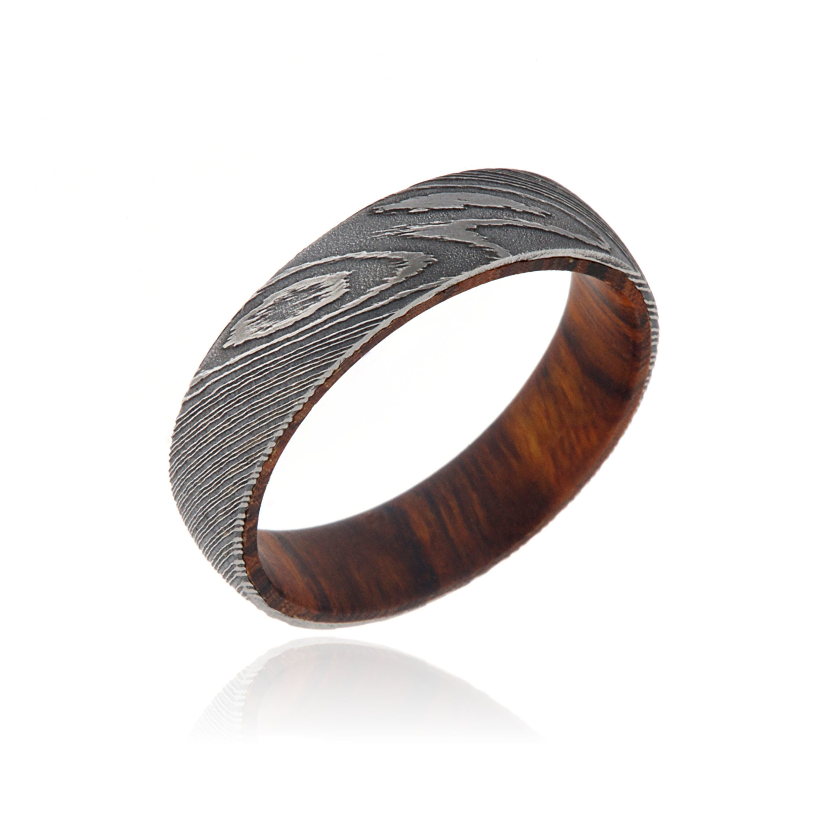 6mm Damascus Steel Ring With Iron Wood Sleeve For Men Free Shipping Today 16197320
