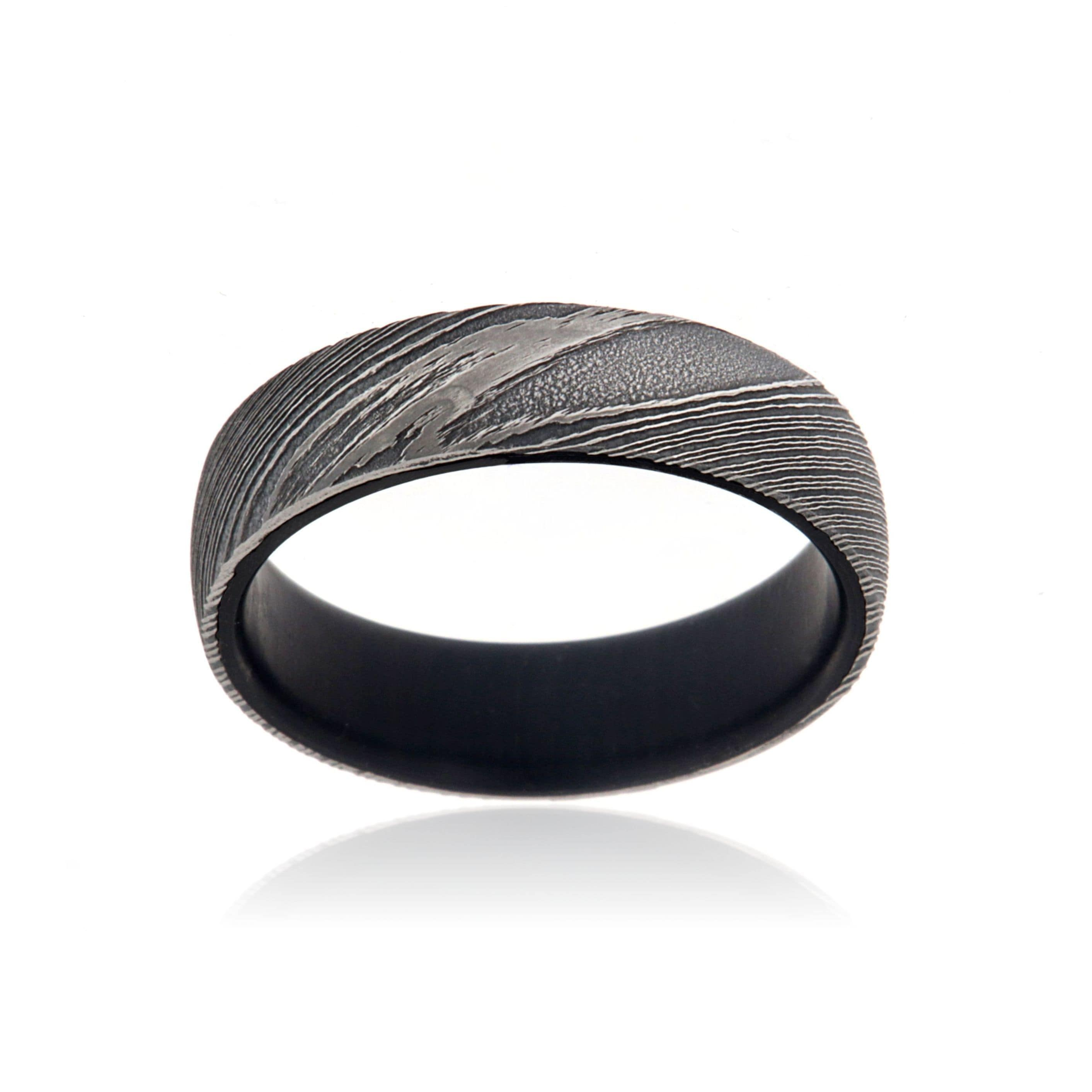Shop 6MM Damascus Steel Ring With African Blackwood Inside Sleeve ...