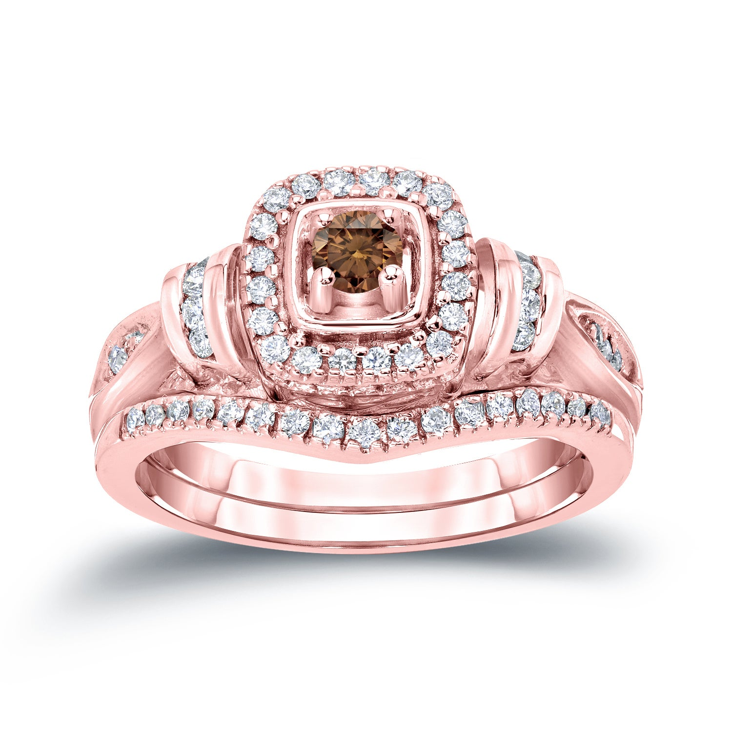 Auriya 14k 1/2ct TDW Round Brown Diamond Halo Engagement Ring Set ...