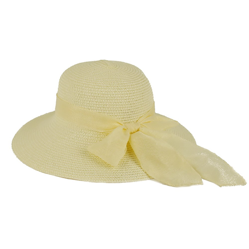 cdb7097eaafc26 Shop Pop Fashionwear Women's Straw Wide Brim Fancy Ribbon Floppy Hat - Free  Shipping On Orders Over $45 - Overstock - 16198565