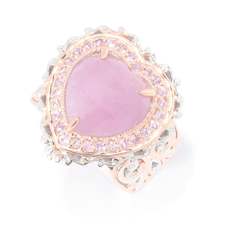 Michael Valitutti Palladium Silver Rose Cut Pink Sapphire Heart ...