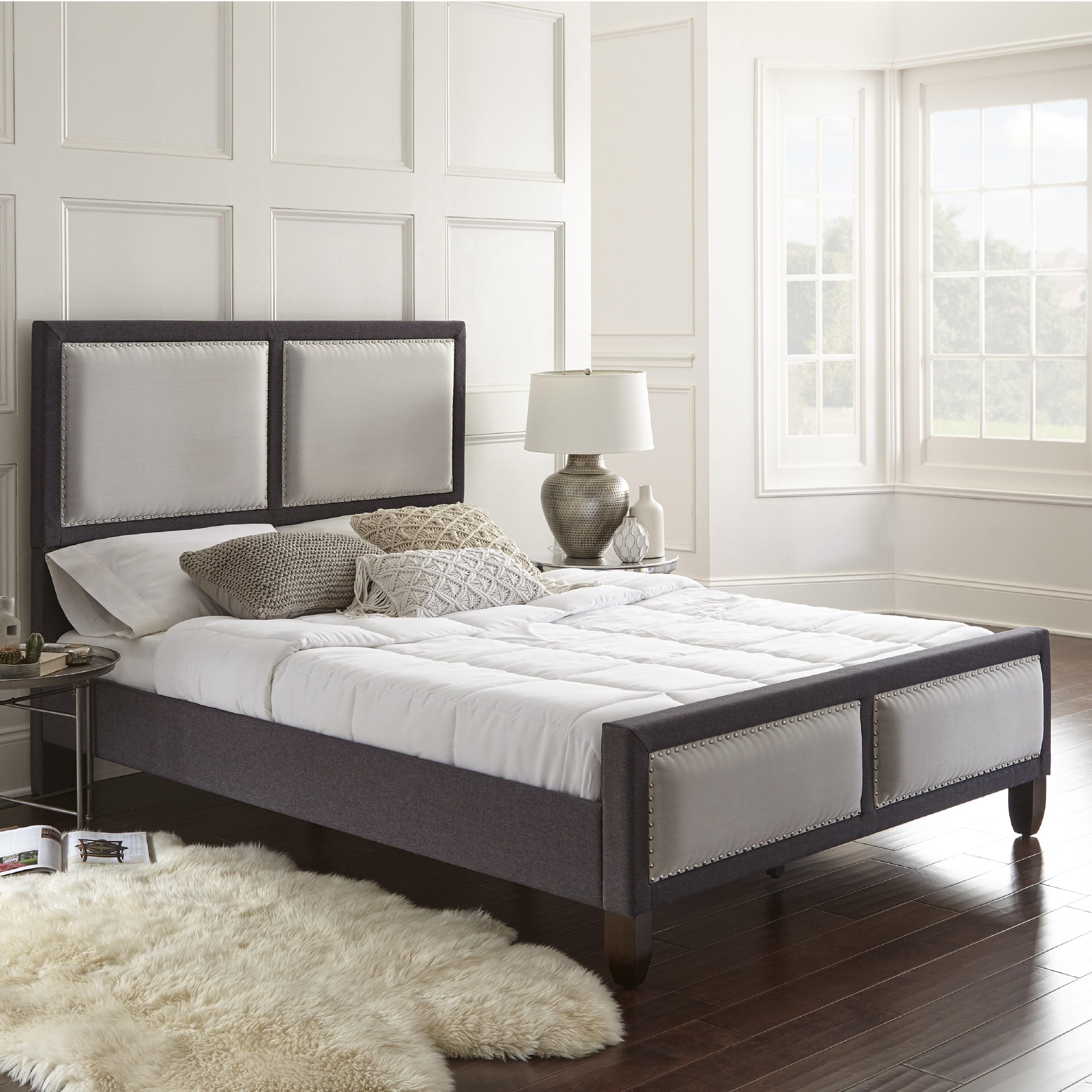 Shop Sleep Sync Madison QN Platform Bed linen fabric upholstered Bed ...