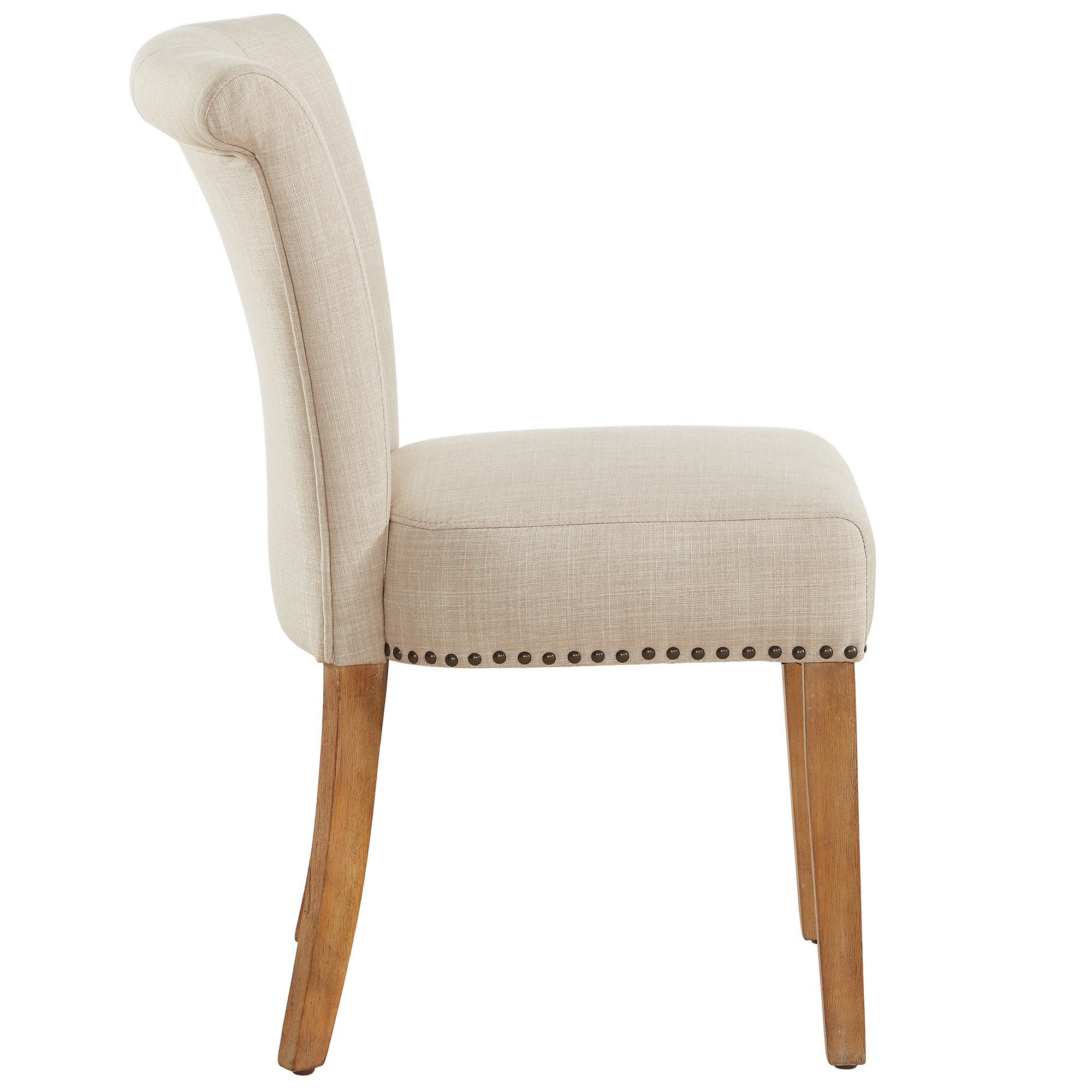 Shop selma beige fabric rubberwood button tufted side chair set of 2 free shipping today overstock com 16201089