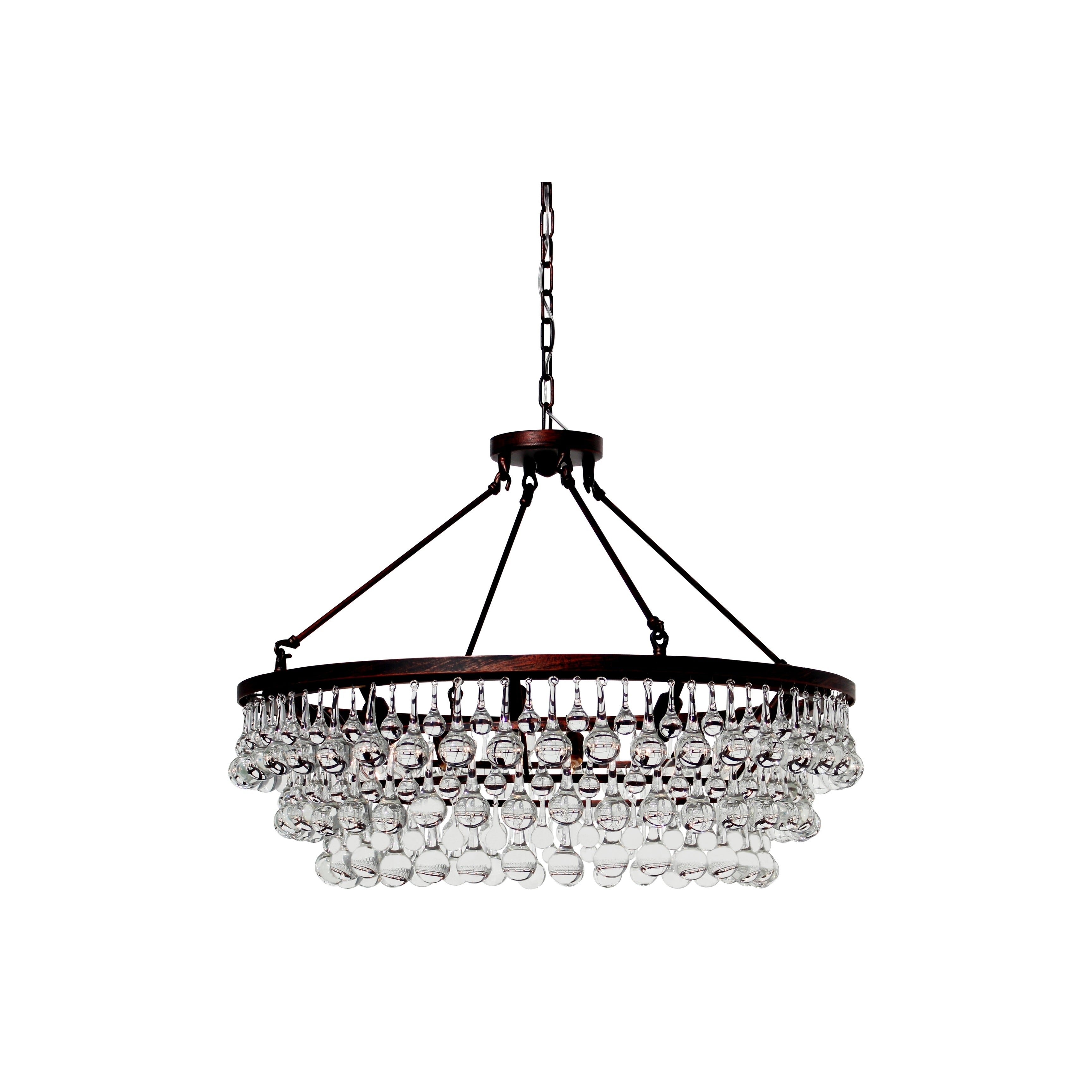 Celeste Oil rubbed Bronze Glass Drop Crystal Chandelier Free