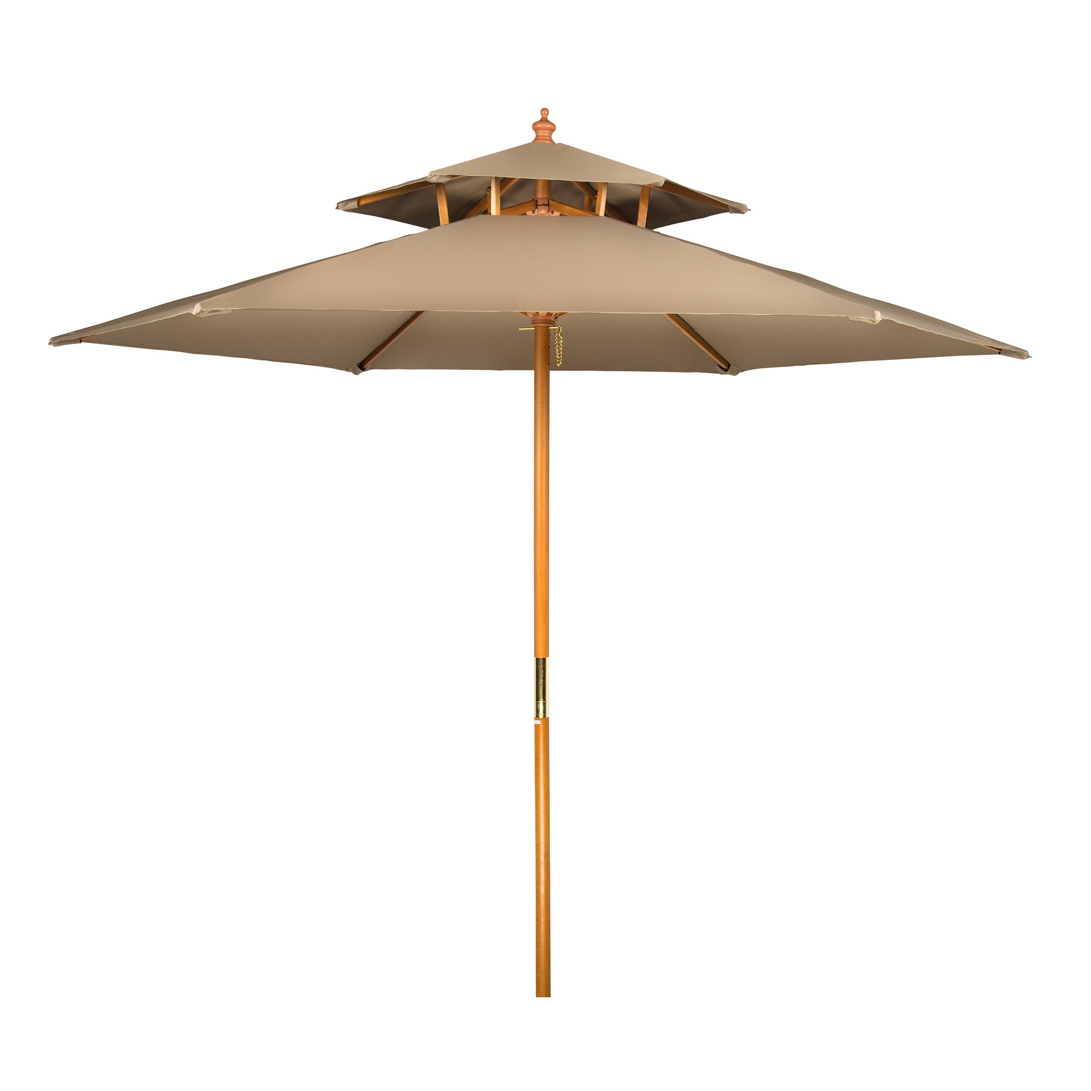 8u0027 Wood 2 Tier Pagoda Style Patio Umbrella By Trademark Innovations   Free  Shipping Today   Overstock   22612890