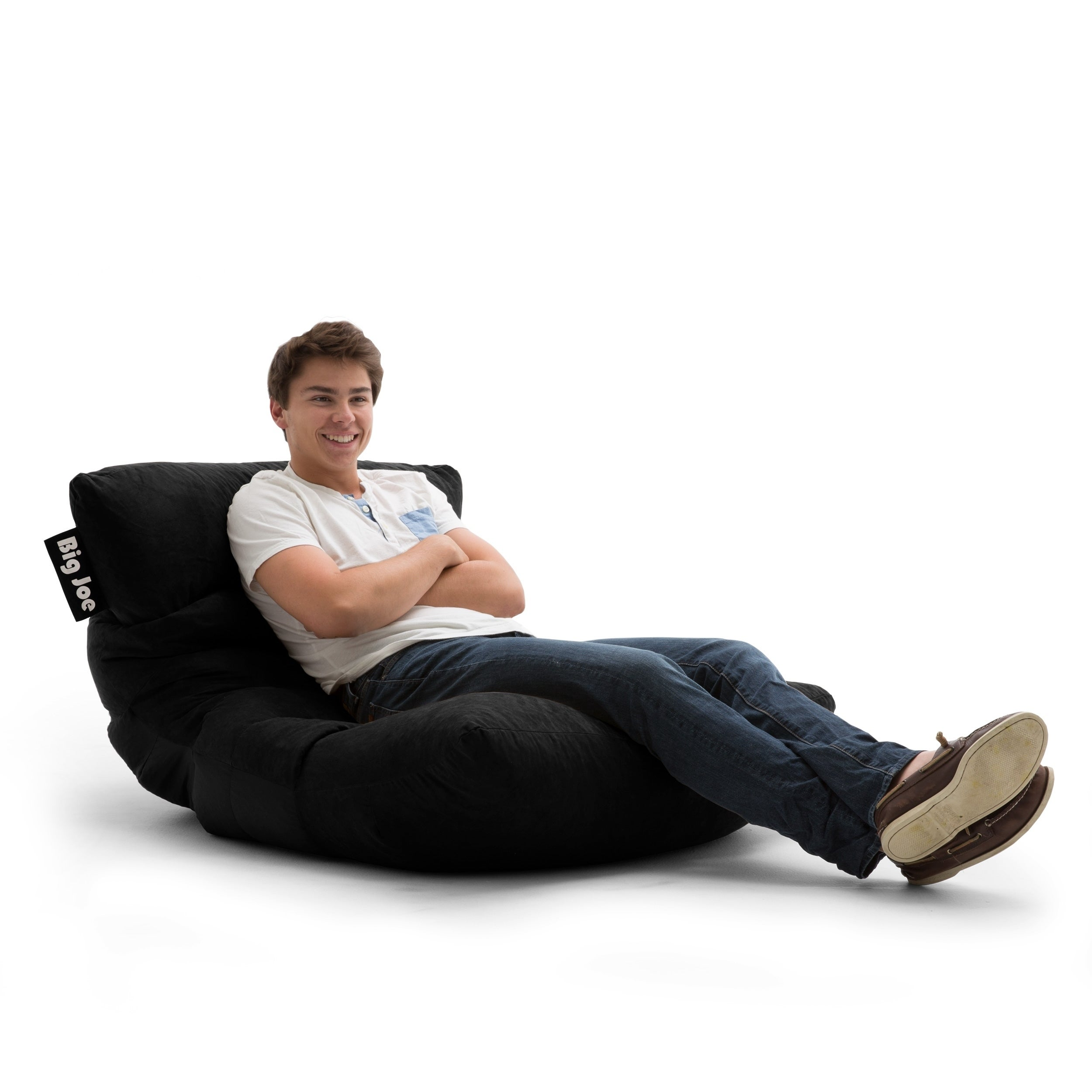 Superbe Shop Big Joe Roma Black Microfiber Comfort Suede Plus Chair   Free Shipping  Today   Overstock.com   16257647