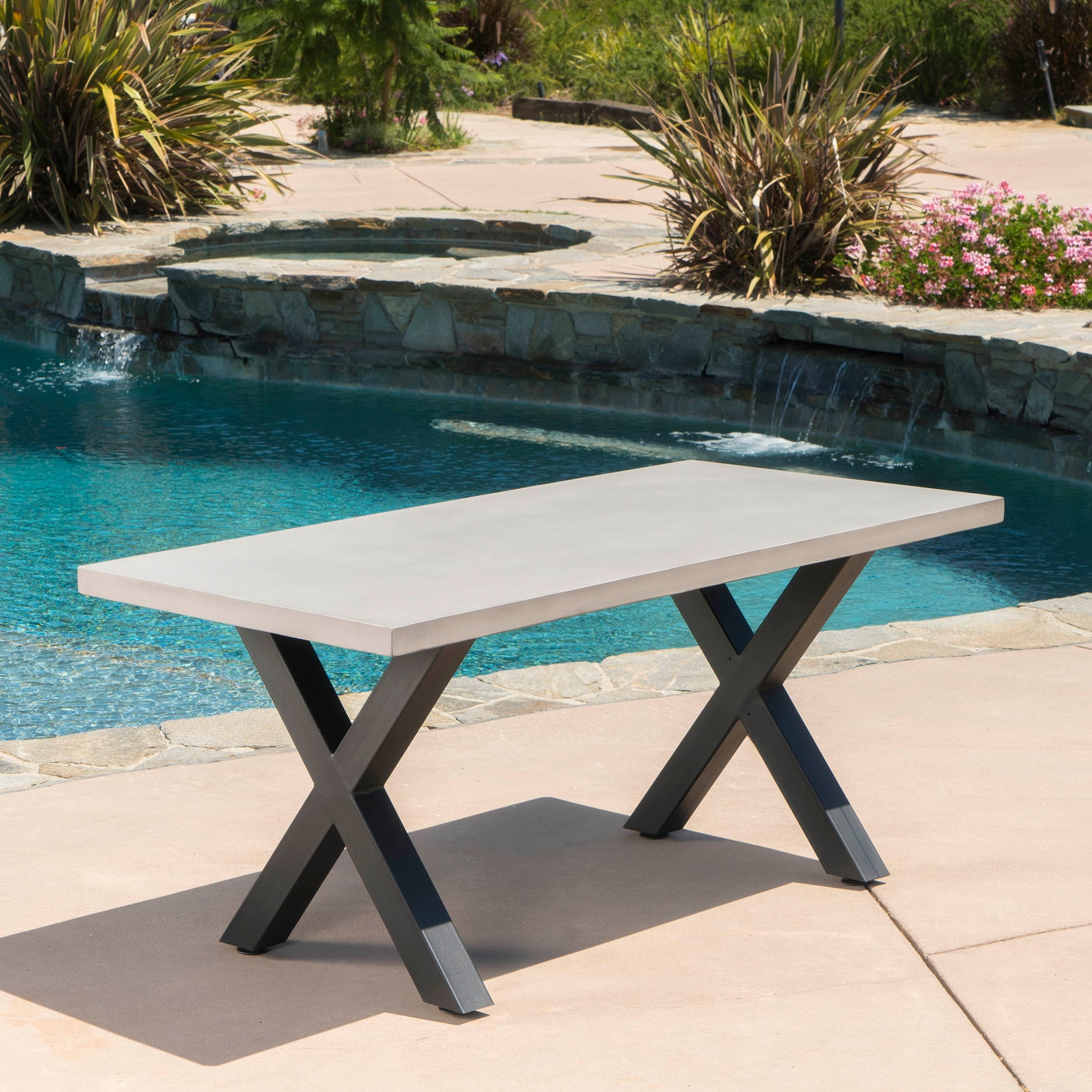 Shop Goleta Outdoor Rectangle Light Weight Concrete Dining Table By  Christopher Knight Home   On Sale   Free Shipping Today   Overstock.com    16273315